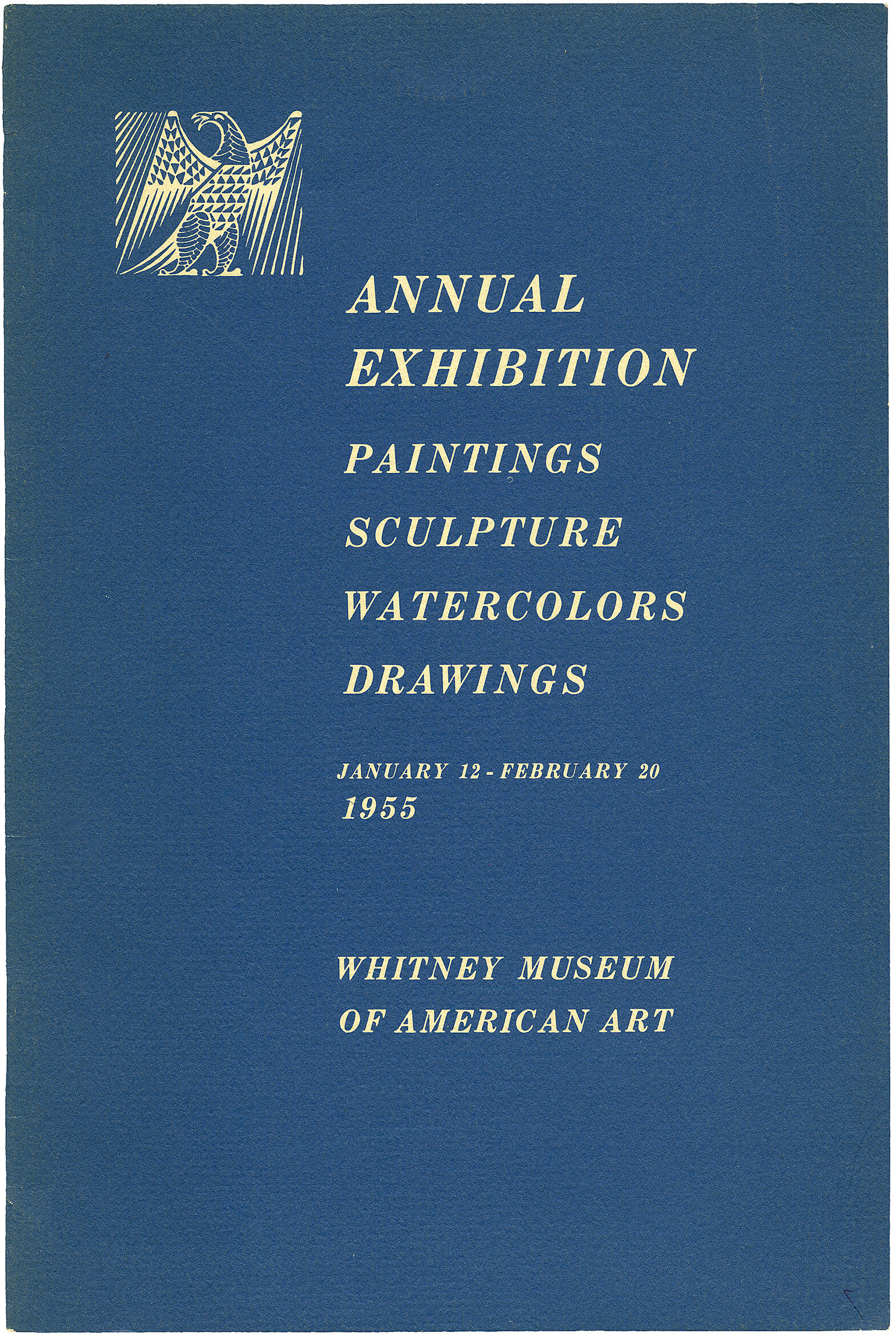 Cover for 1955 Annual Exhibition of Contemporary American Painting, Sculpture, Watercolors and Drawings catalogue