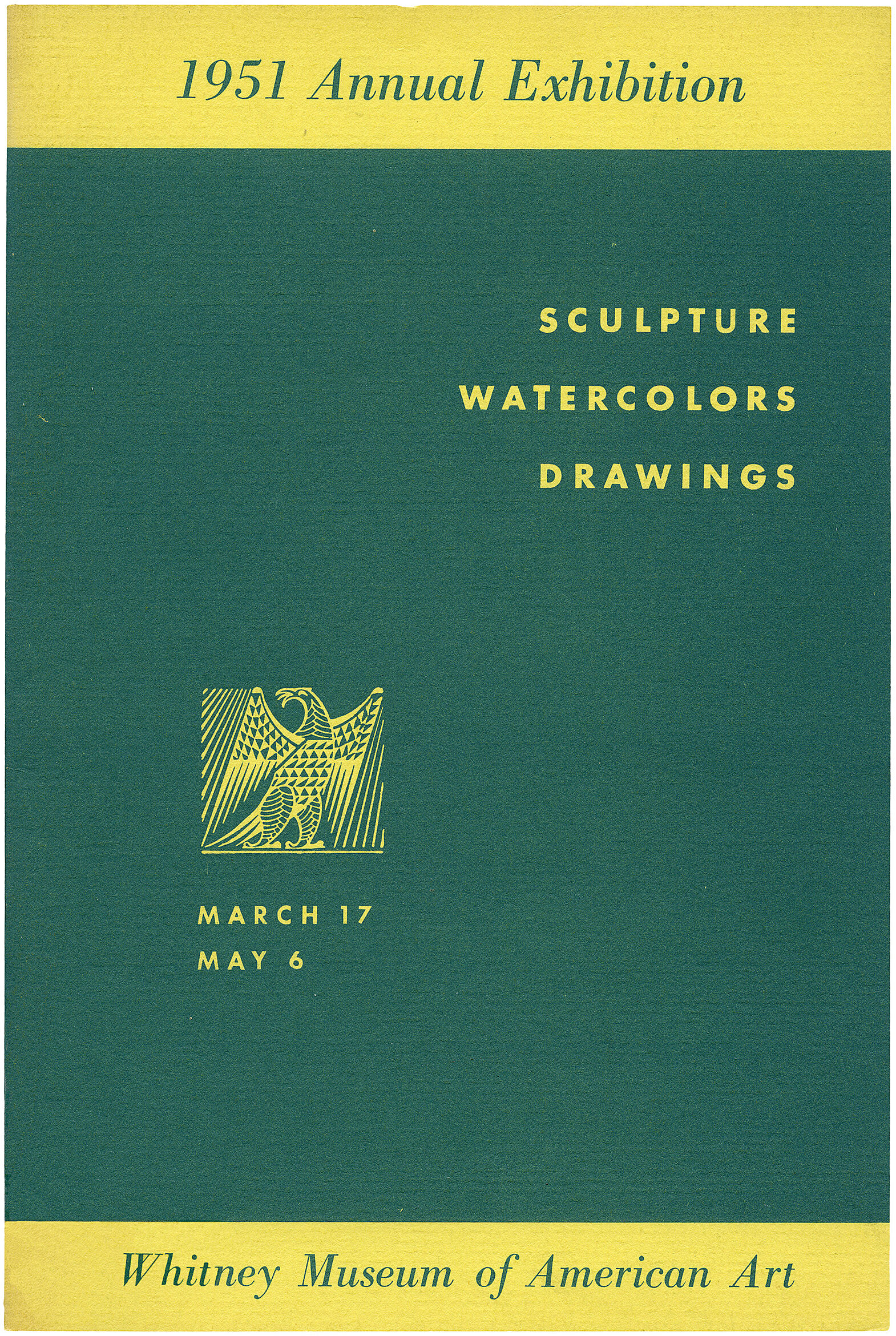 Cover for 1951 Annual Exhibition of Contemporary American Sculpture, Watercolors and Drawings catalogue