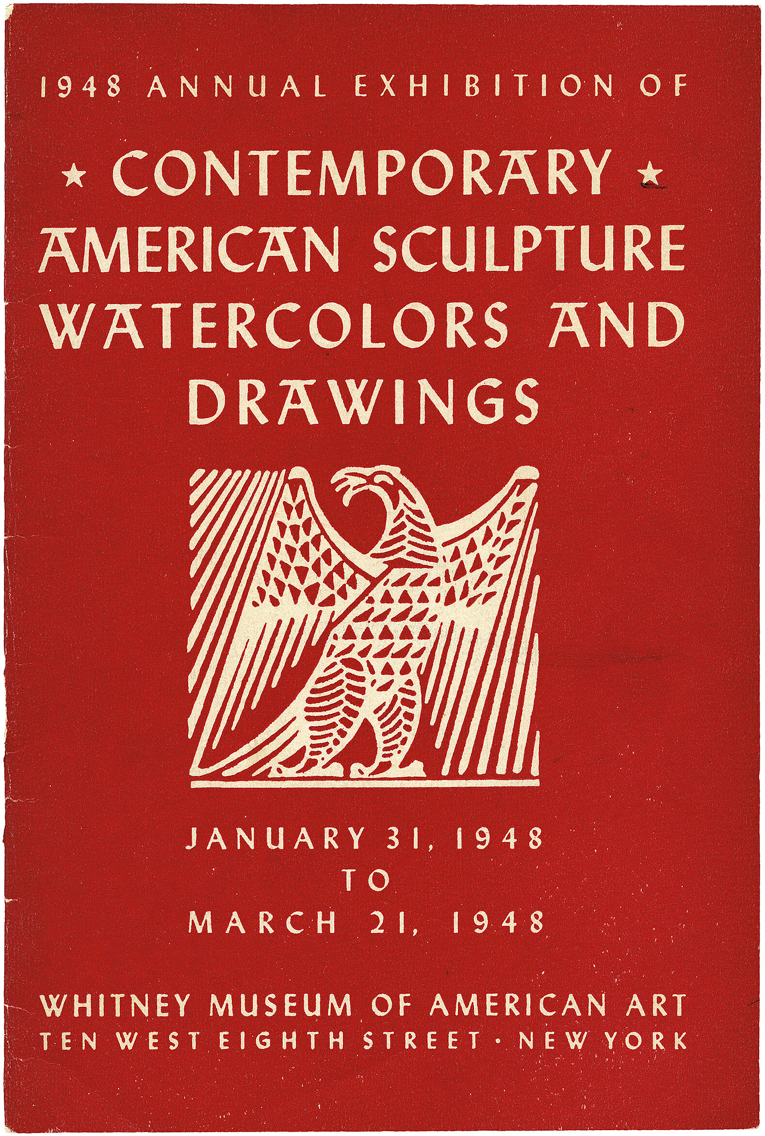 Cover for 1948 Annual Exhibition of Contemporary American Sculpture, Watercolors and Drawings catalogue
