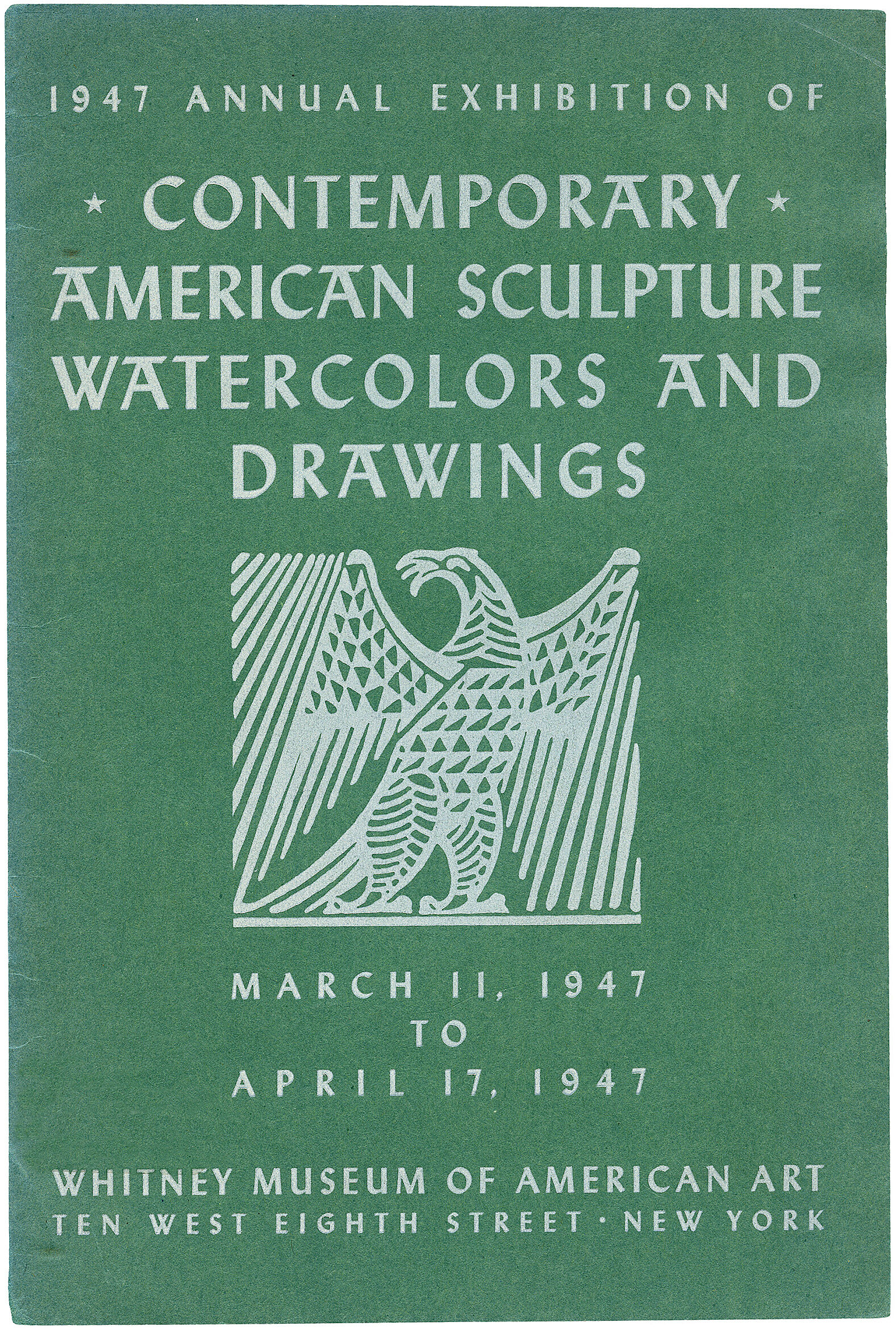 Cover for 1947 Annual Exhibition of Contemporary Ameirican Sculpture, Watercolors and Drawings catalogue