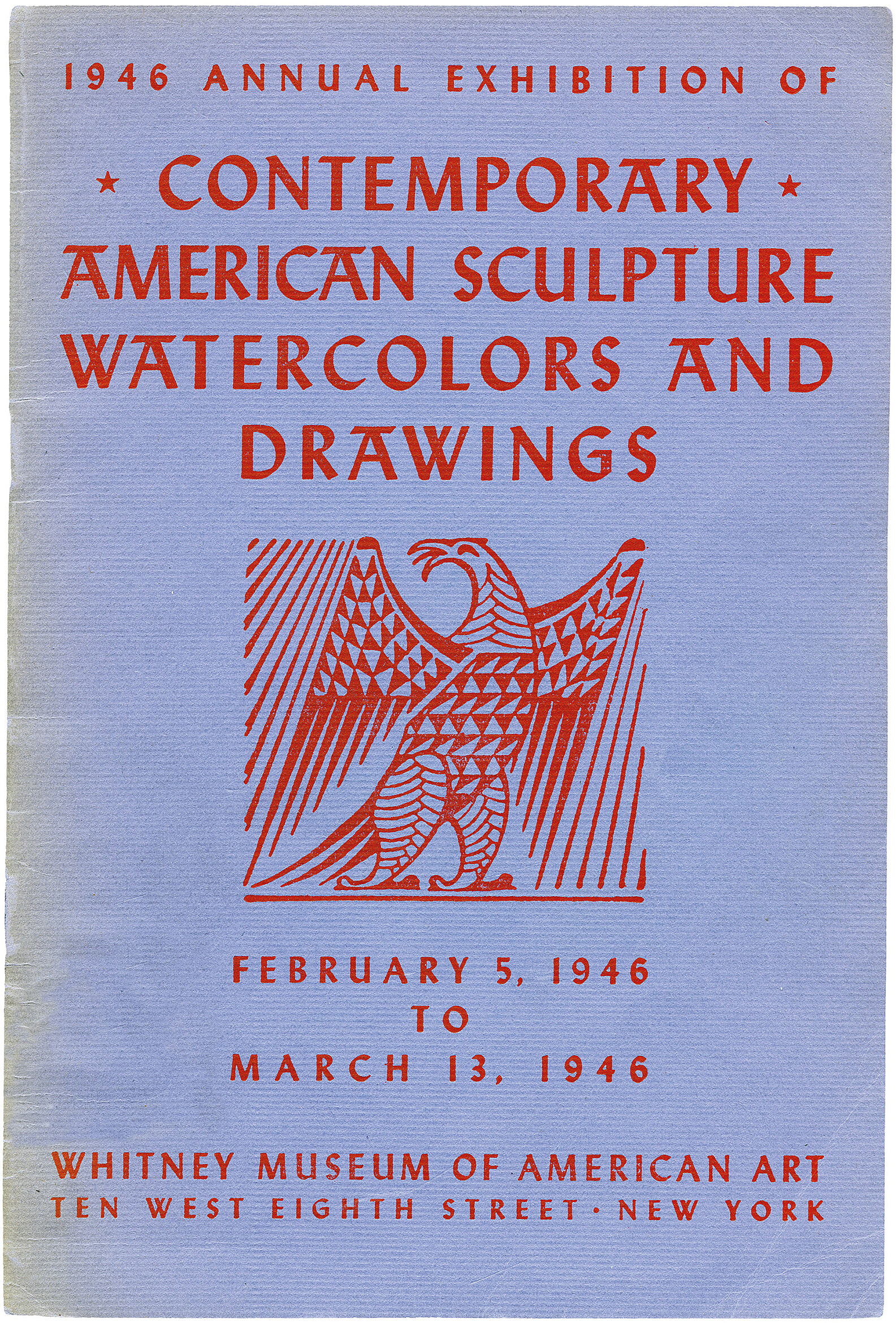Cover for 1946 Annual Exhibition of Contemporary American Sculpture, Watercolors and Drawings catalogue