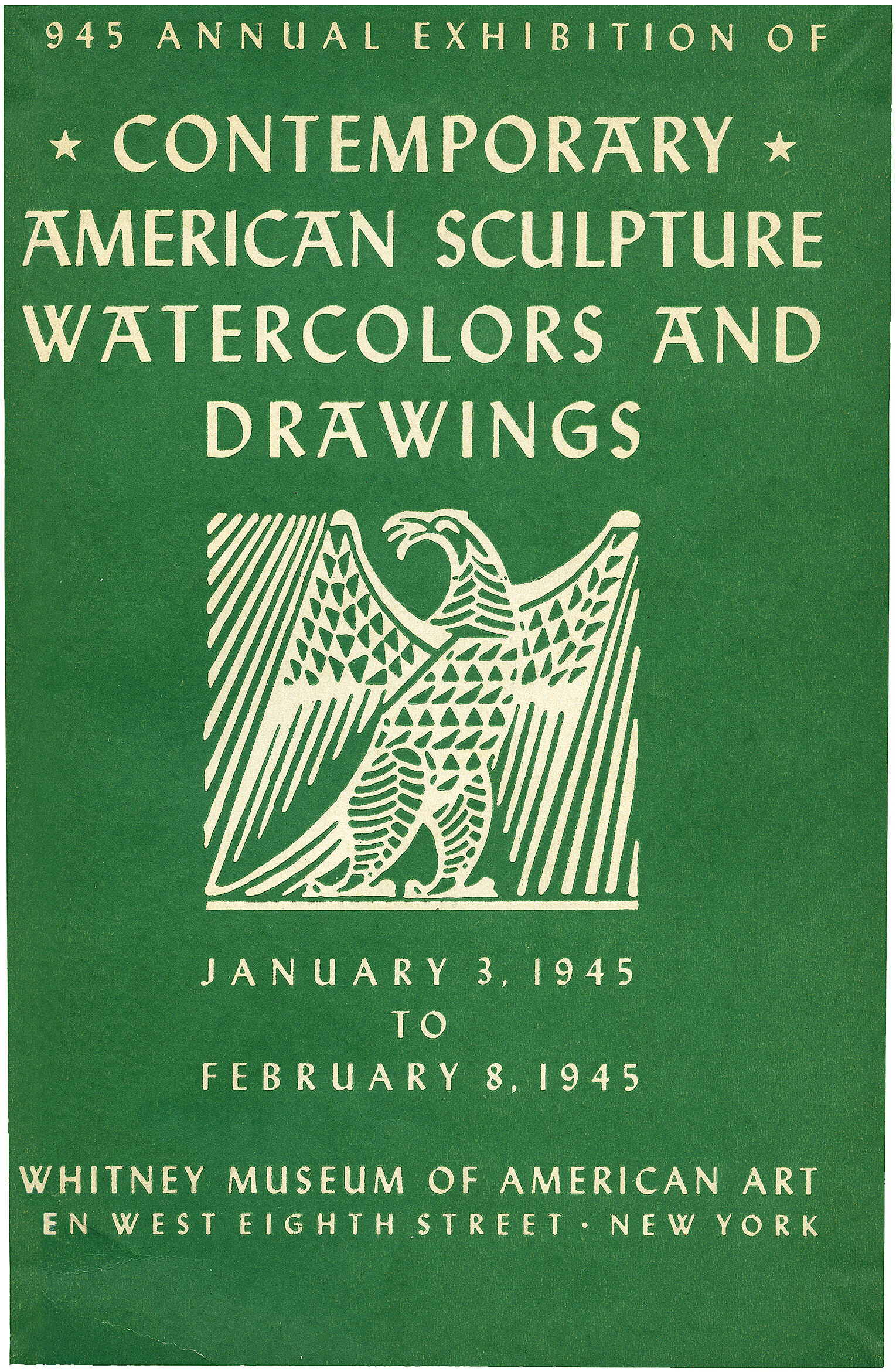 Cover for 1945 Annual Exhibition of Contemporary American Sculpture, Watercolors and Drawings catalogue