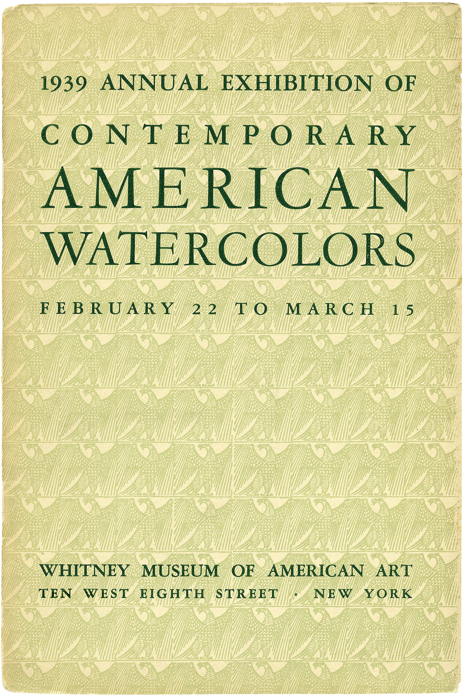 Cover for 1939 Annual Exhibition of Contemporary American Watercolors catalogue