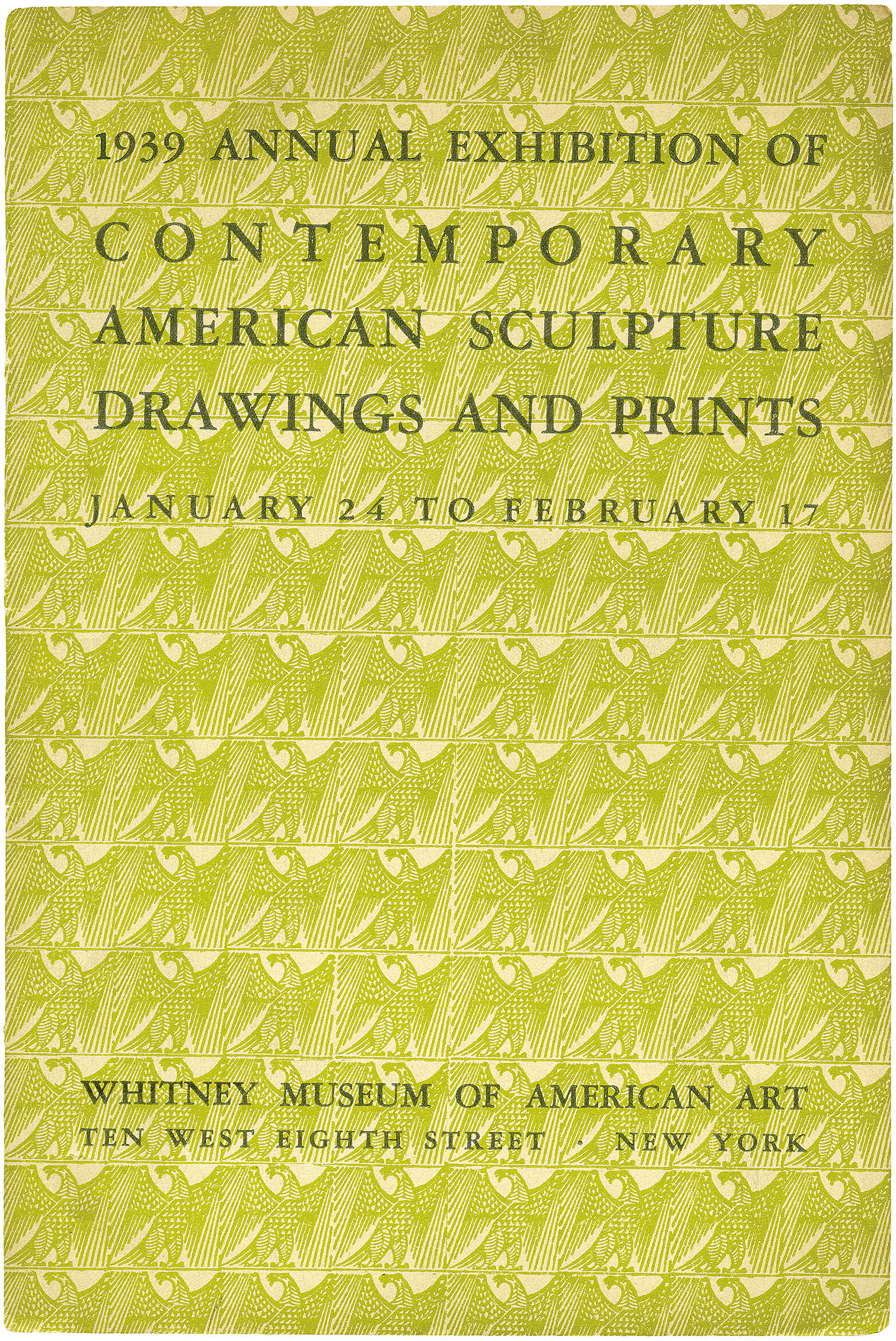 Cover for 1939 Annual Exhibition of Contemporary American Sculpture, Drawings and Prints catalogue