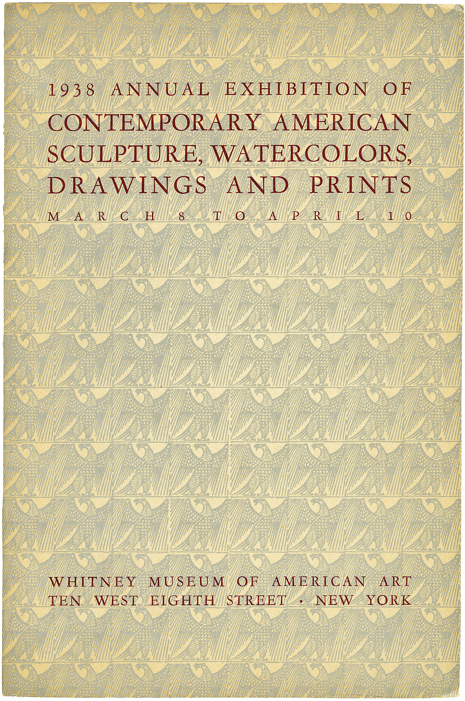 Cover for 1938 Annual Exhibition of Contemporary American Sculpture, Watercolors, Drawings and Prints catalogue