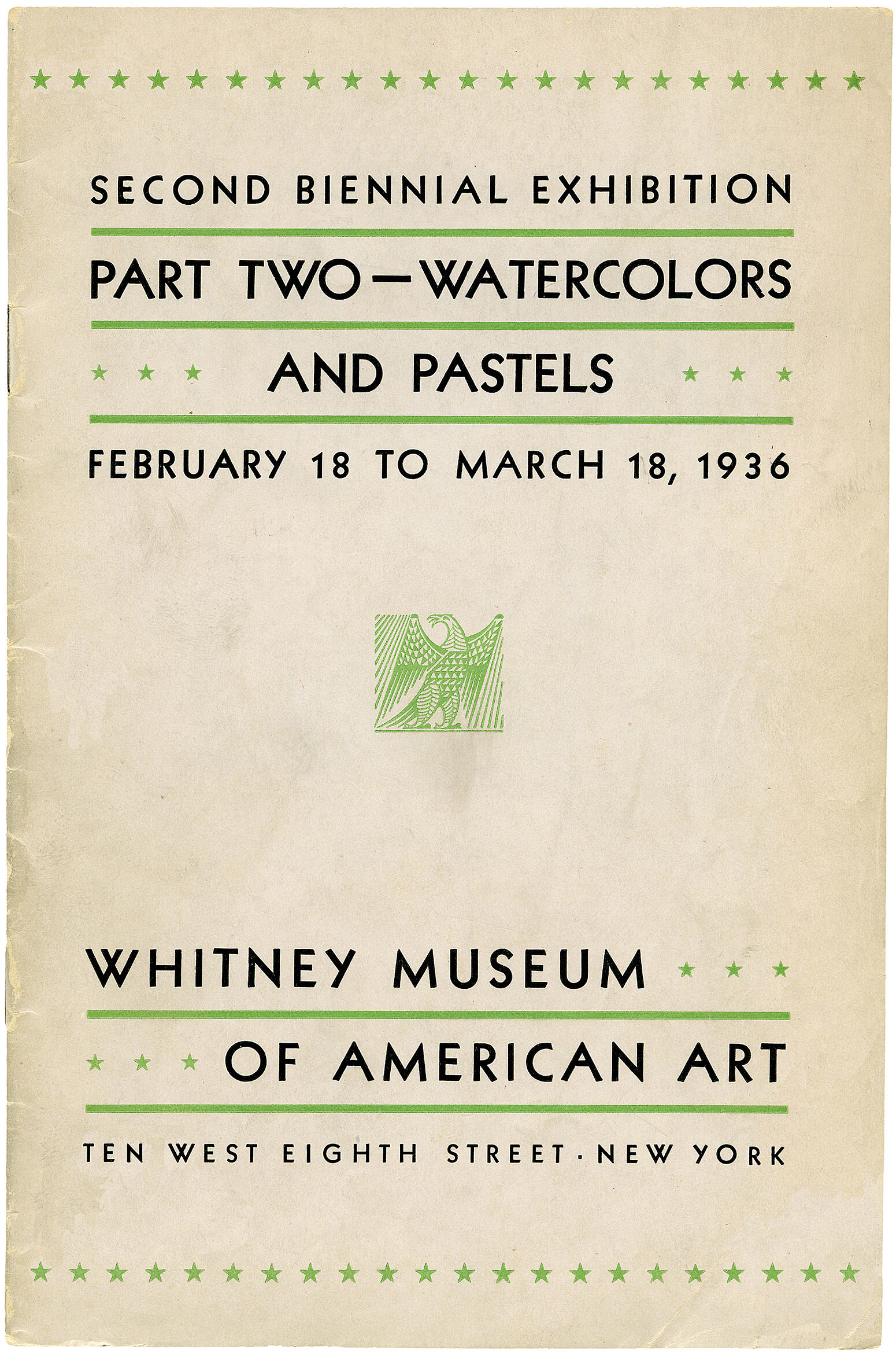 Catalogue cover for Second Biennial Exhibition Part Two—Watercolors, and Pastels