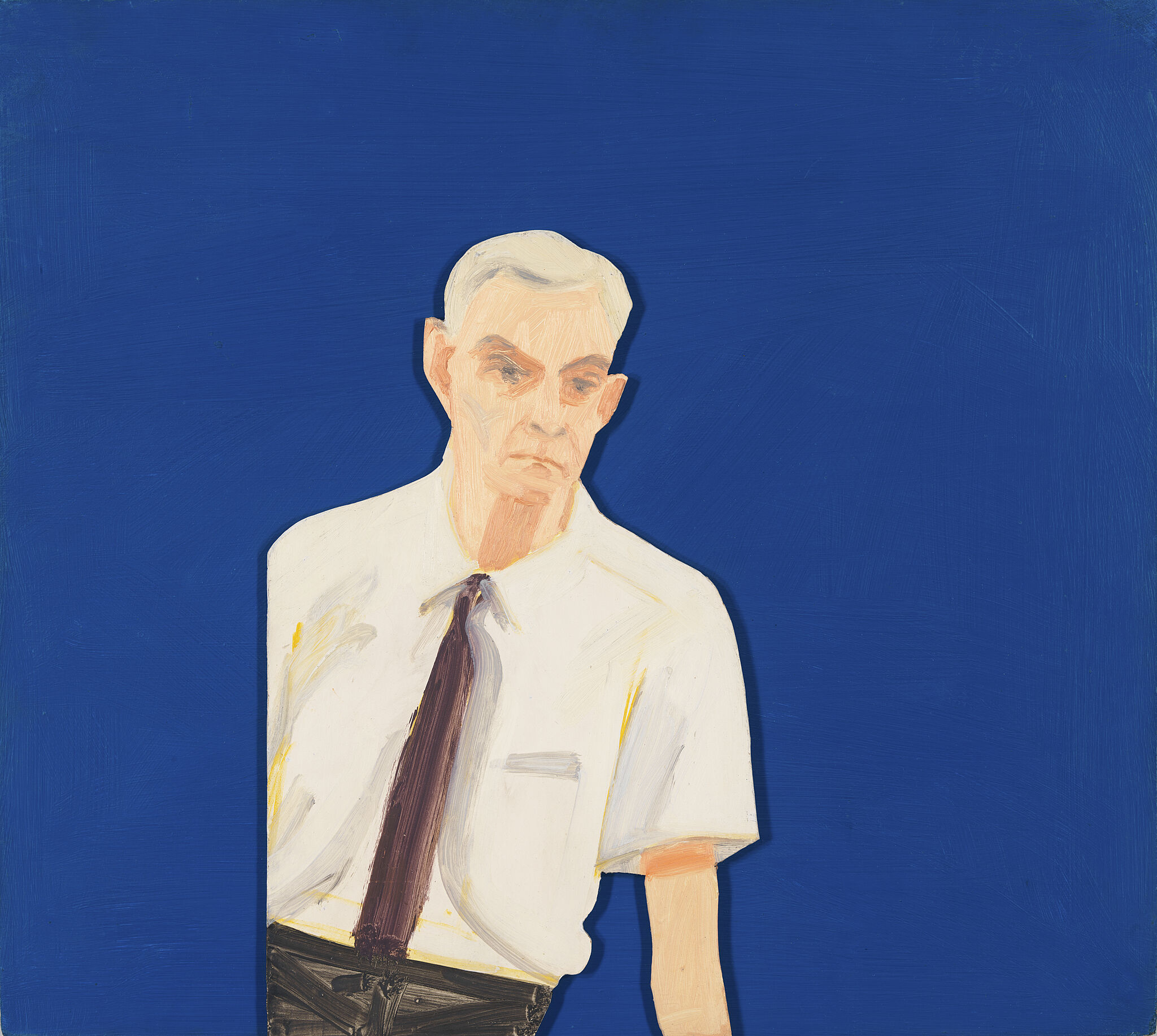 A man in a white shirt on a blue background.