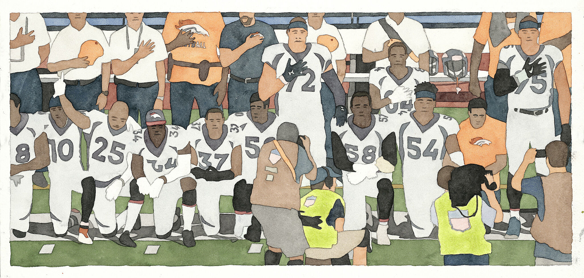 A painting of football players kneeling during the National Anthem.