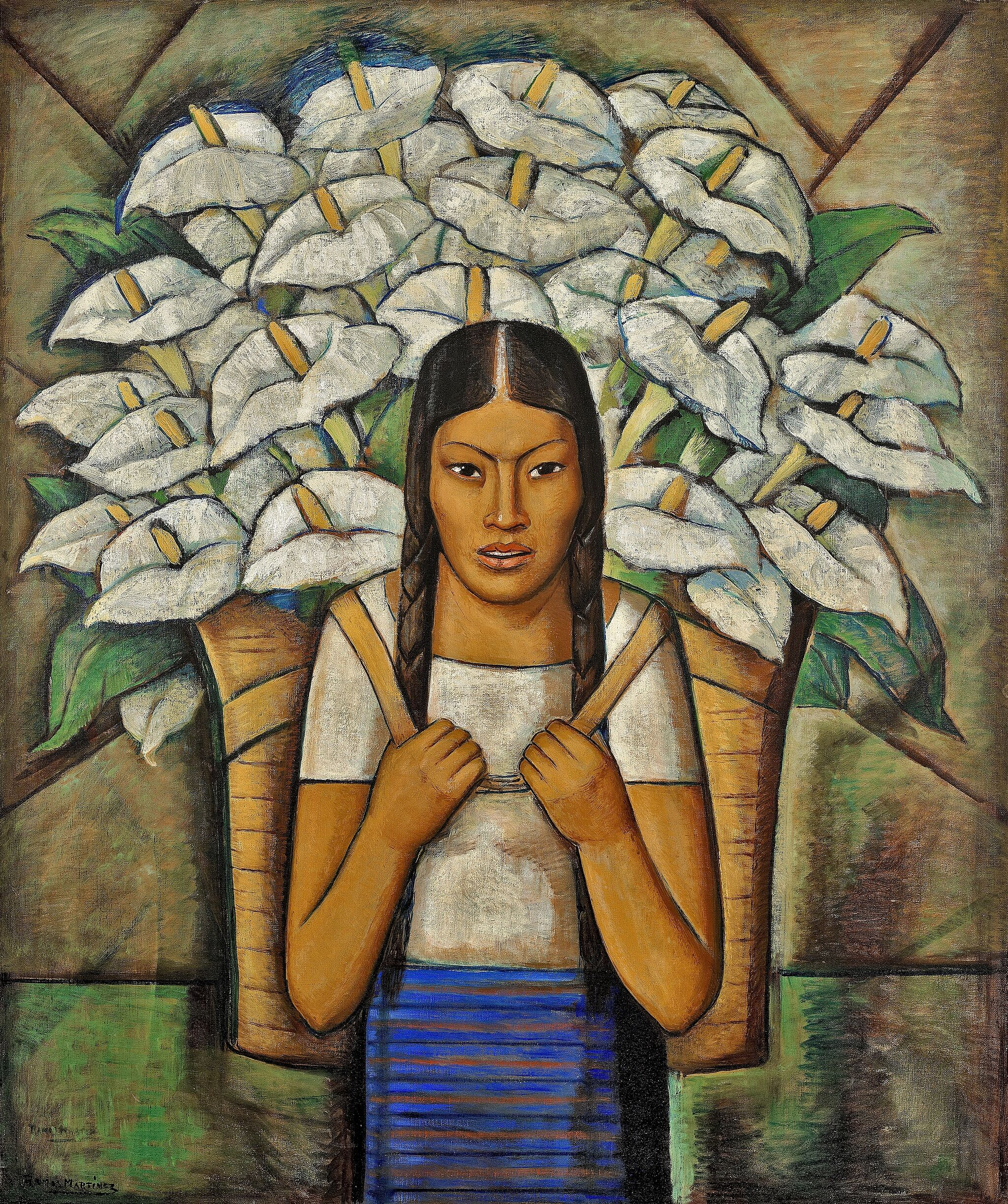 Painting of a woman with a basket of calla lilies