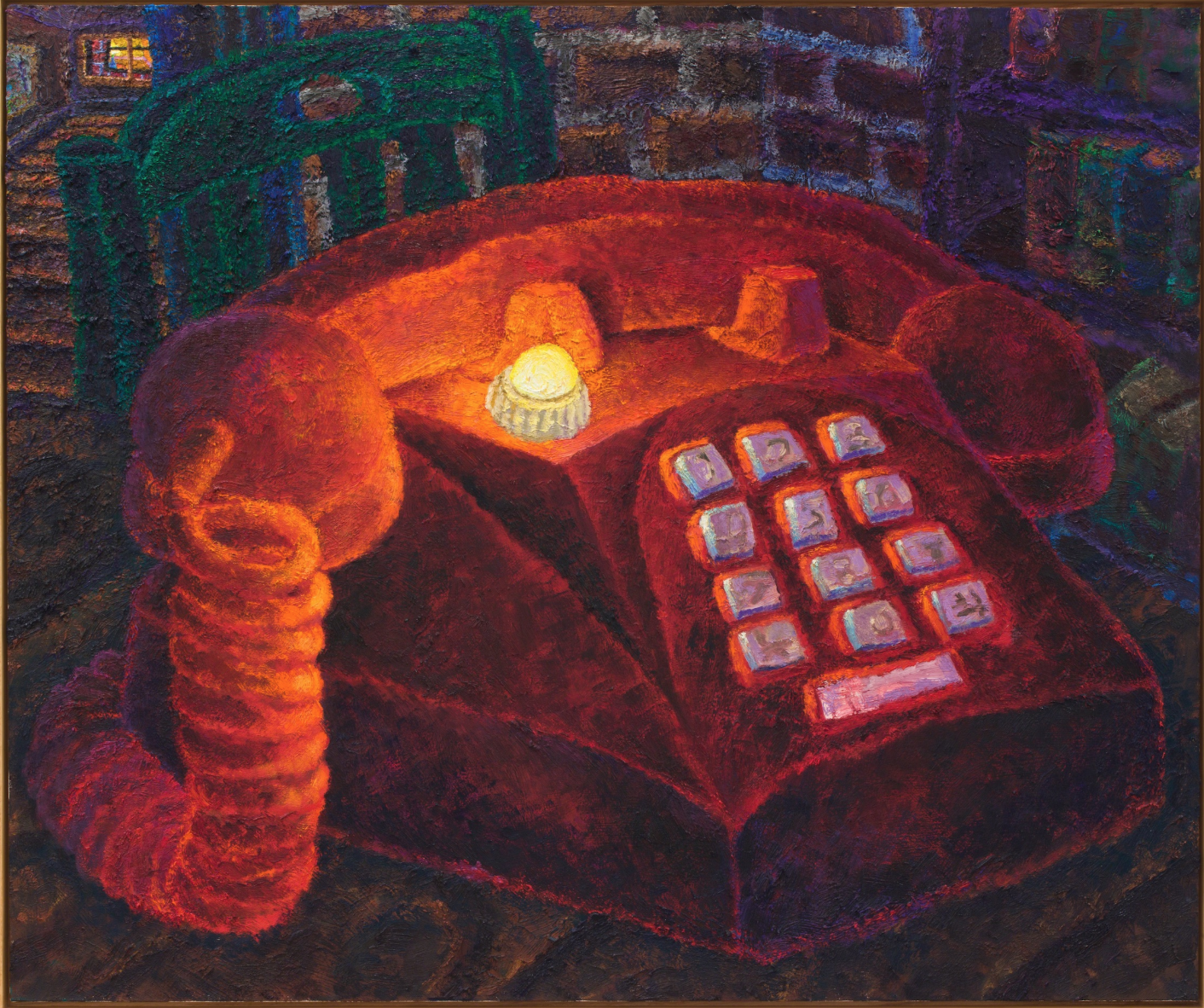 A close-up painting of and enlarged red telephone.