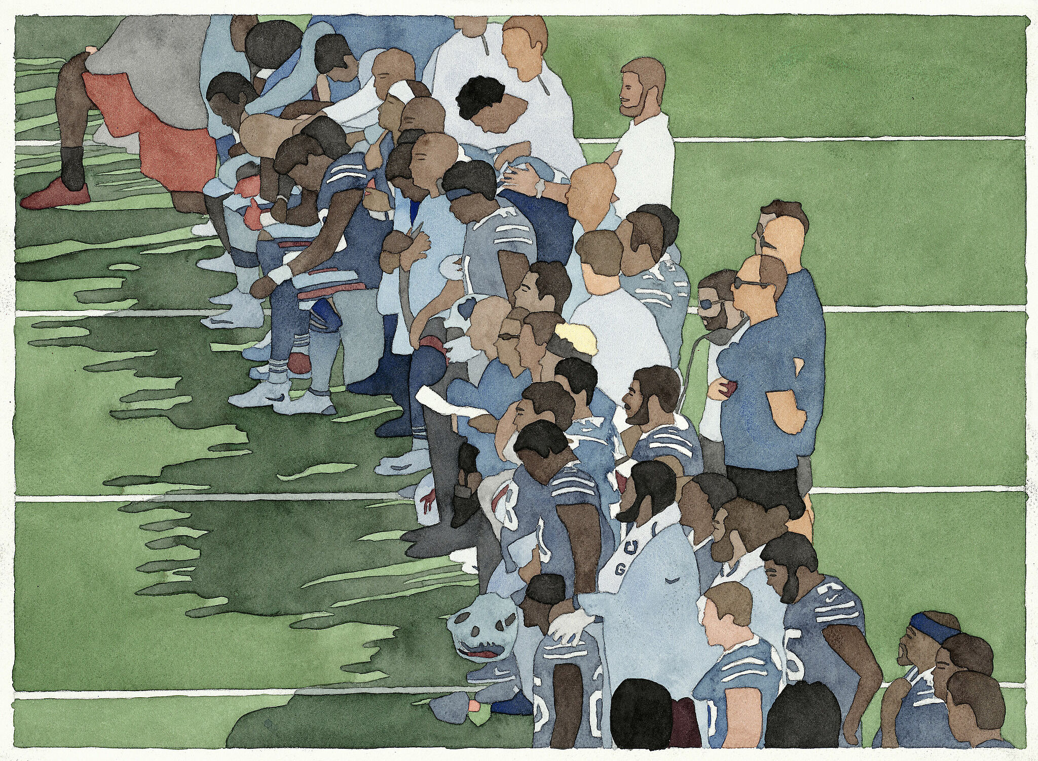 A watercolor of football players kneeling for the national anthem.