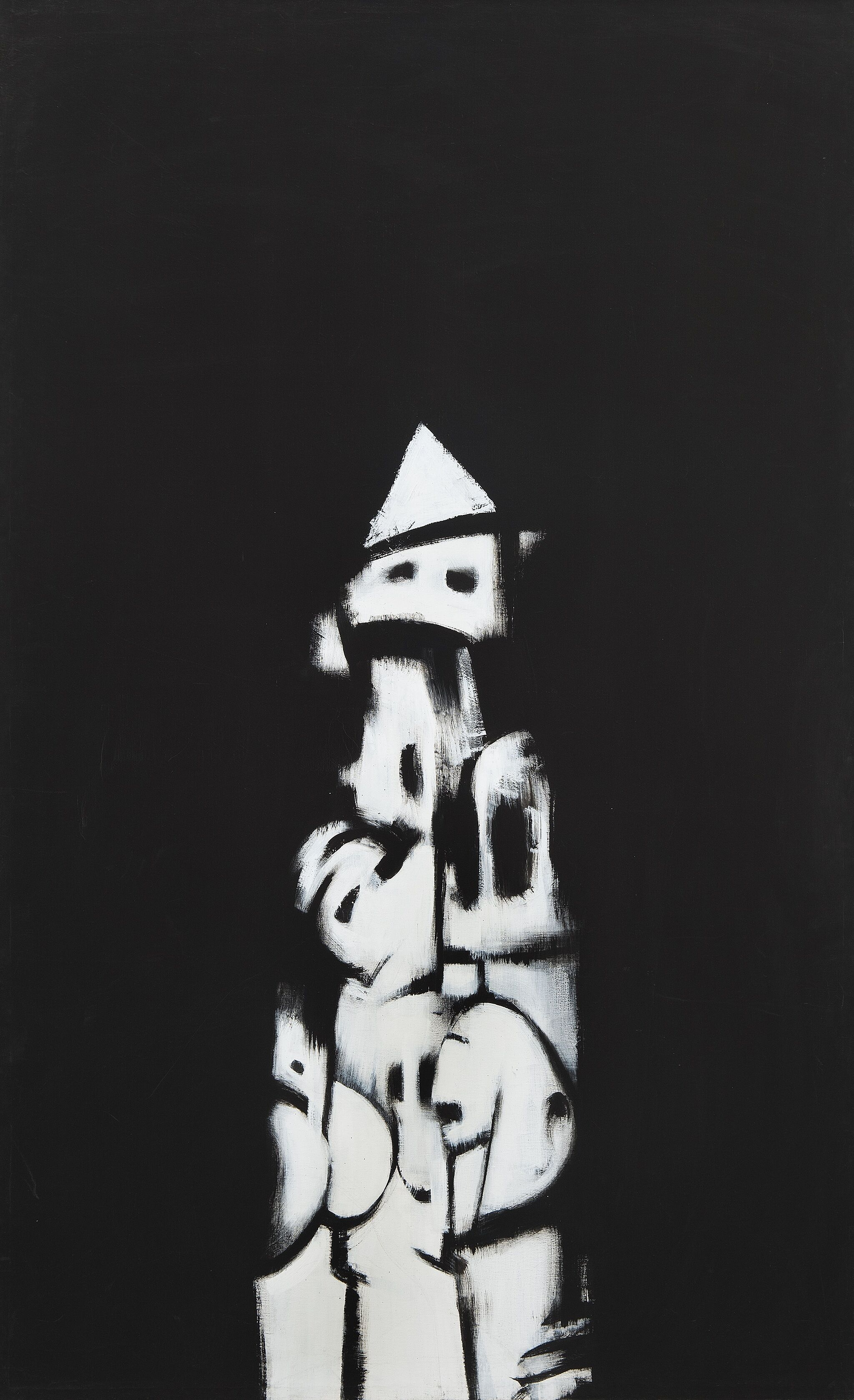 A painting with a black background and white totem-like central figure