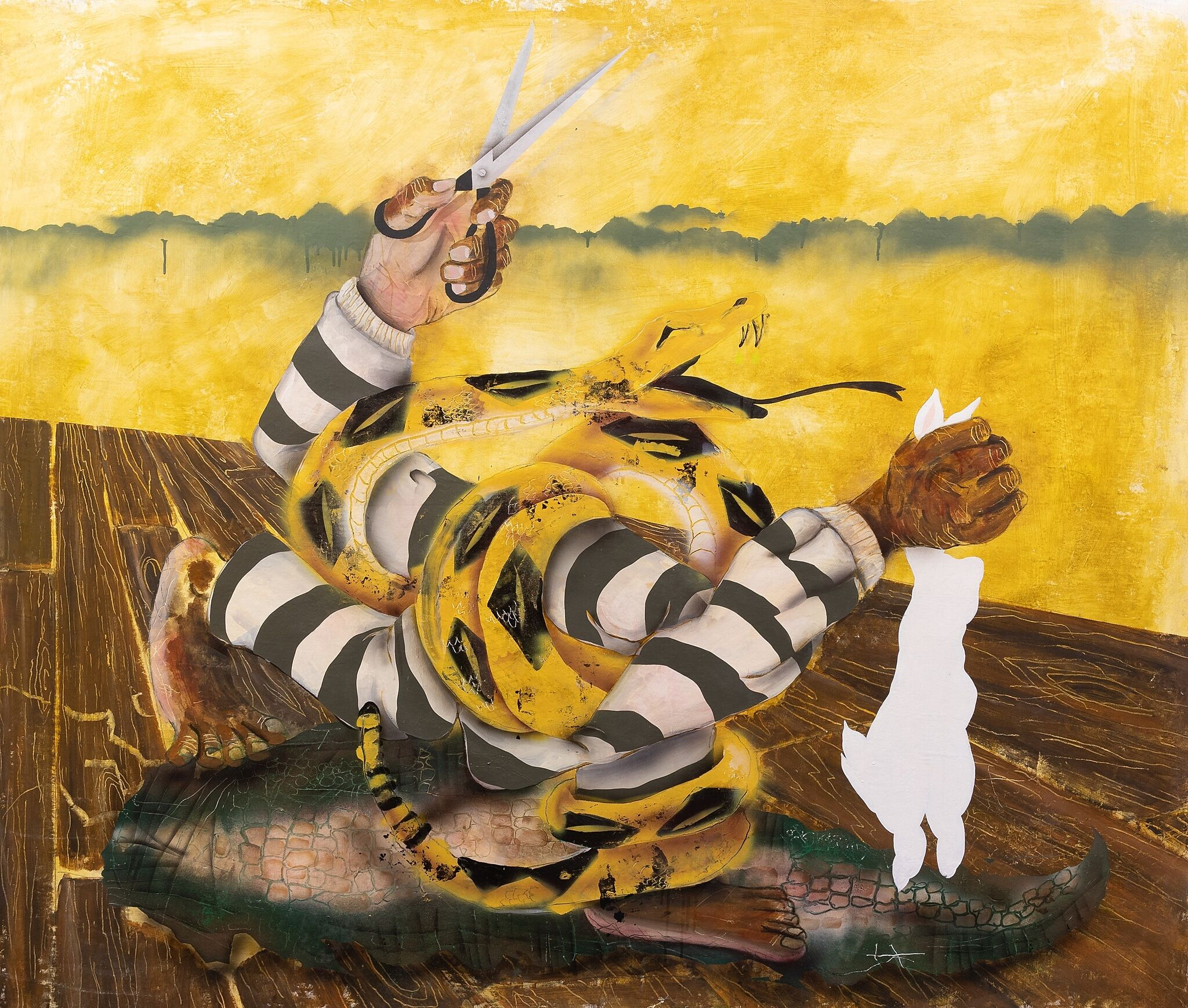 A painting of abstracted arms and hands wearing striped clothing.