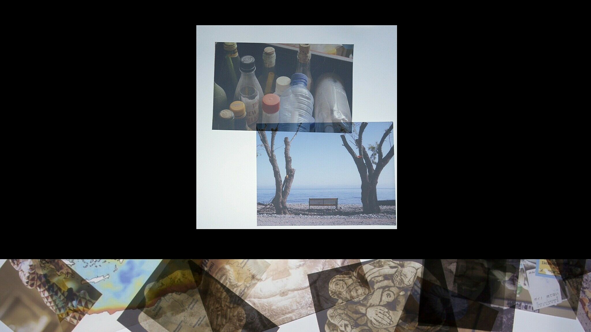 A video still of collaged images.