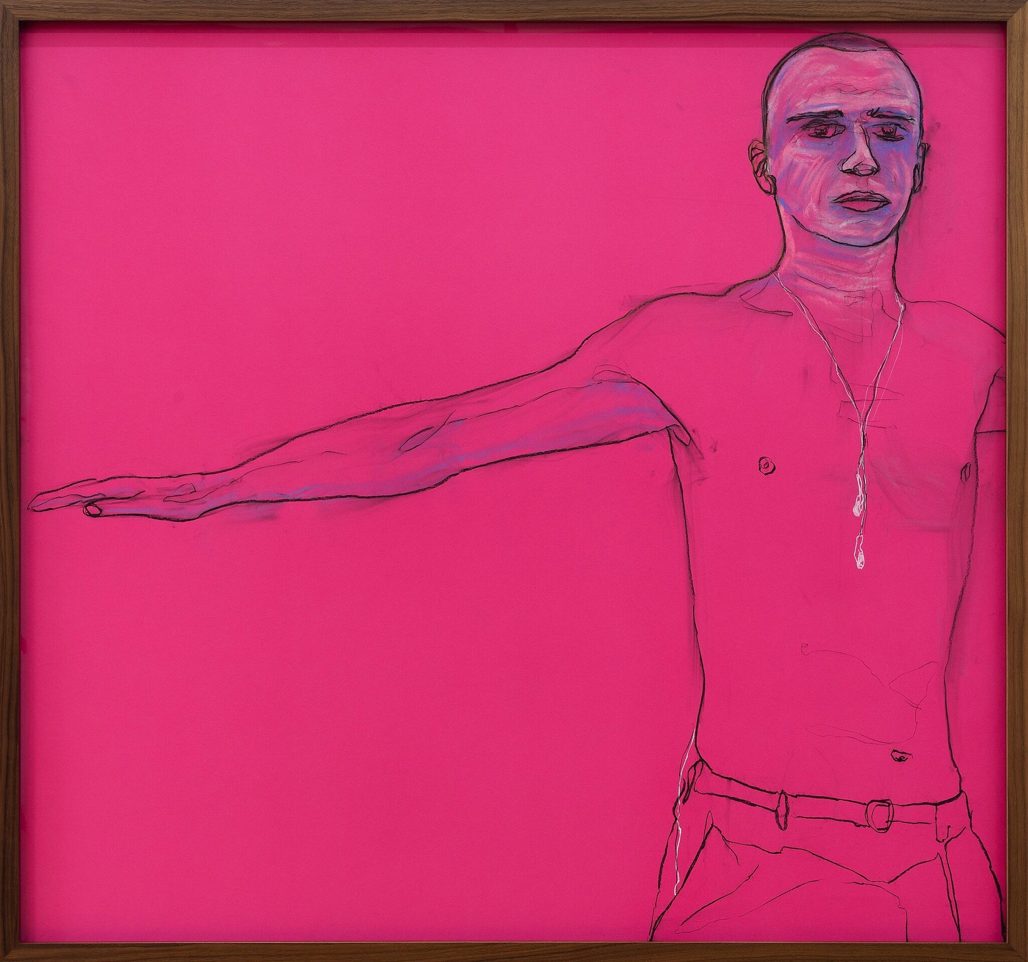 A pink drawing with the outline of a male figure holding one arm out to the side.