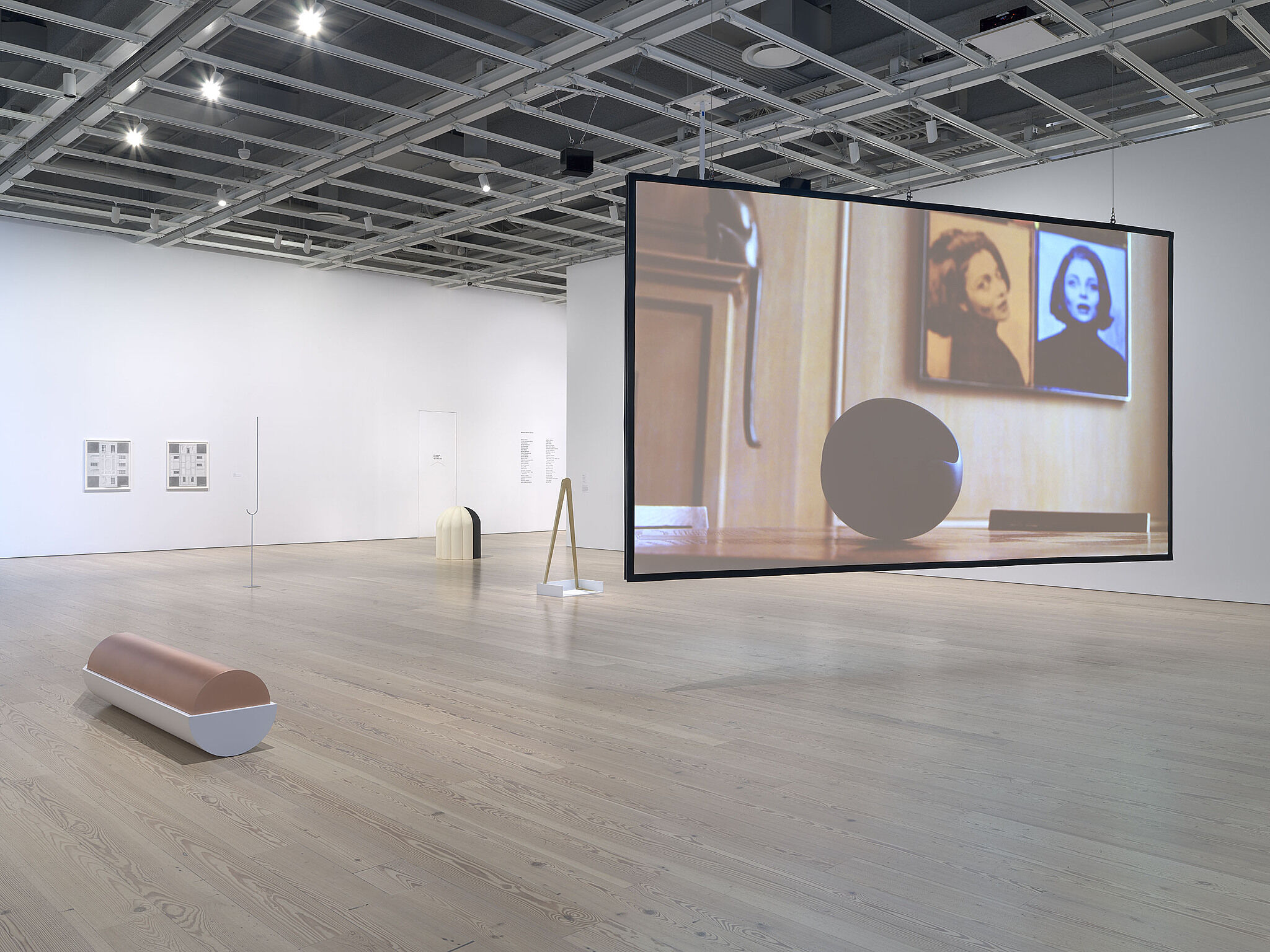 An installation view of artworks in a gallery.