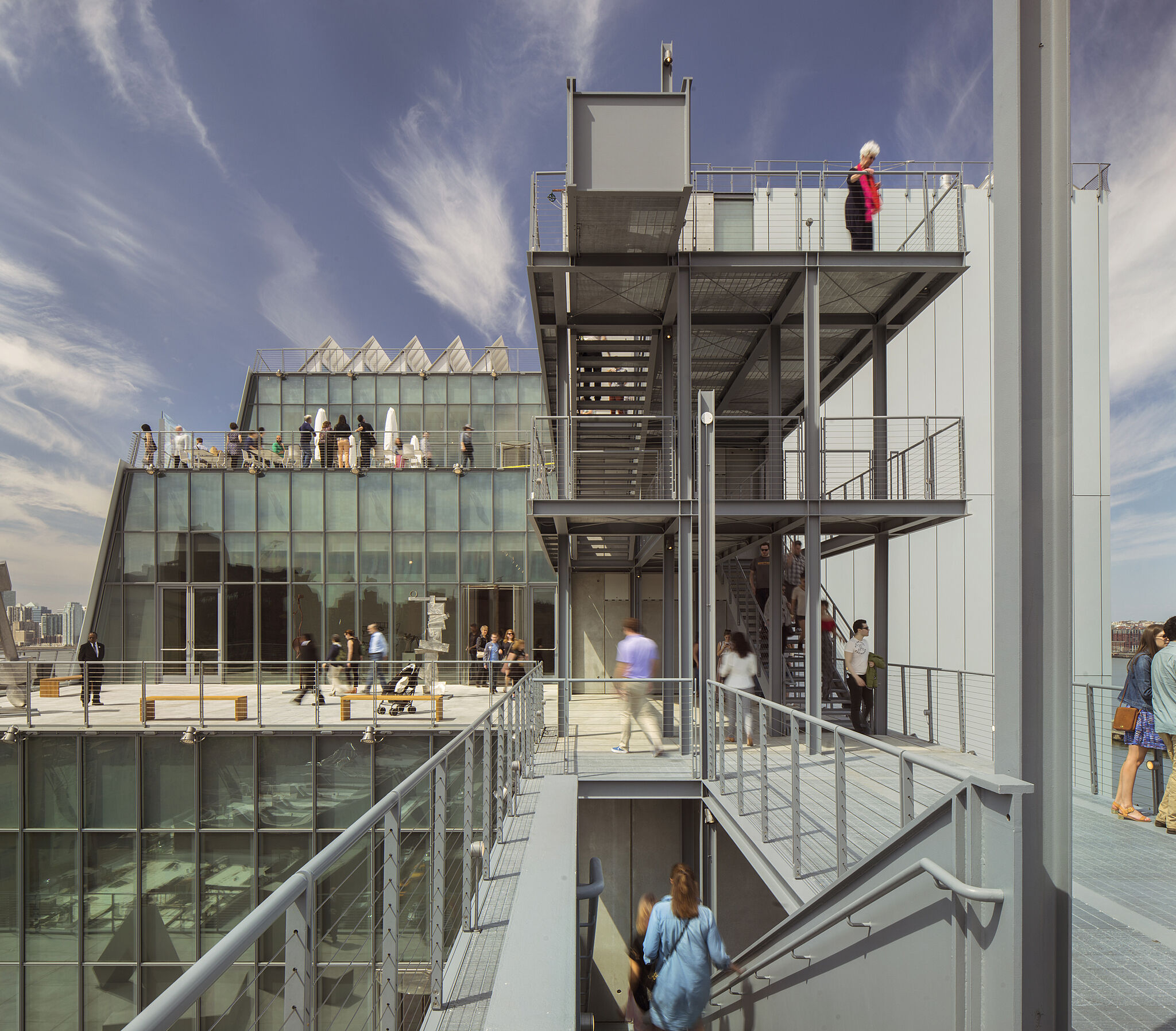 A photograph of the Whitney Museum of American Art terraces.