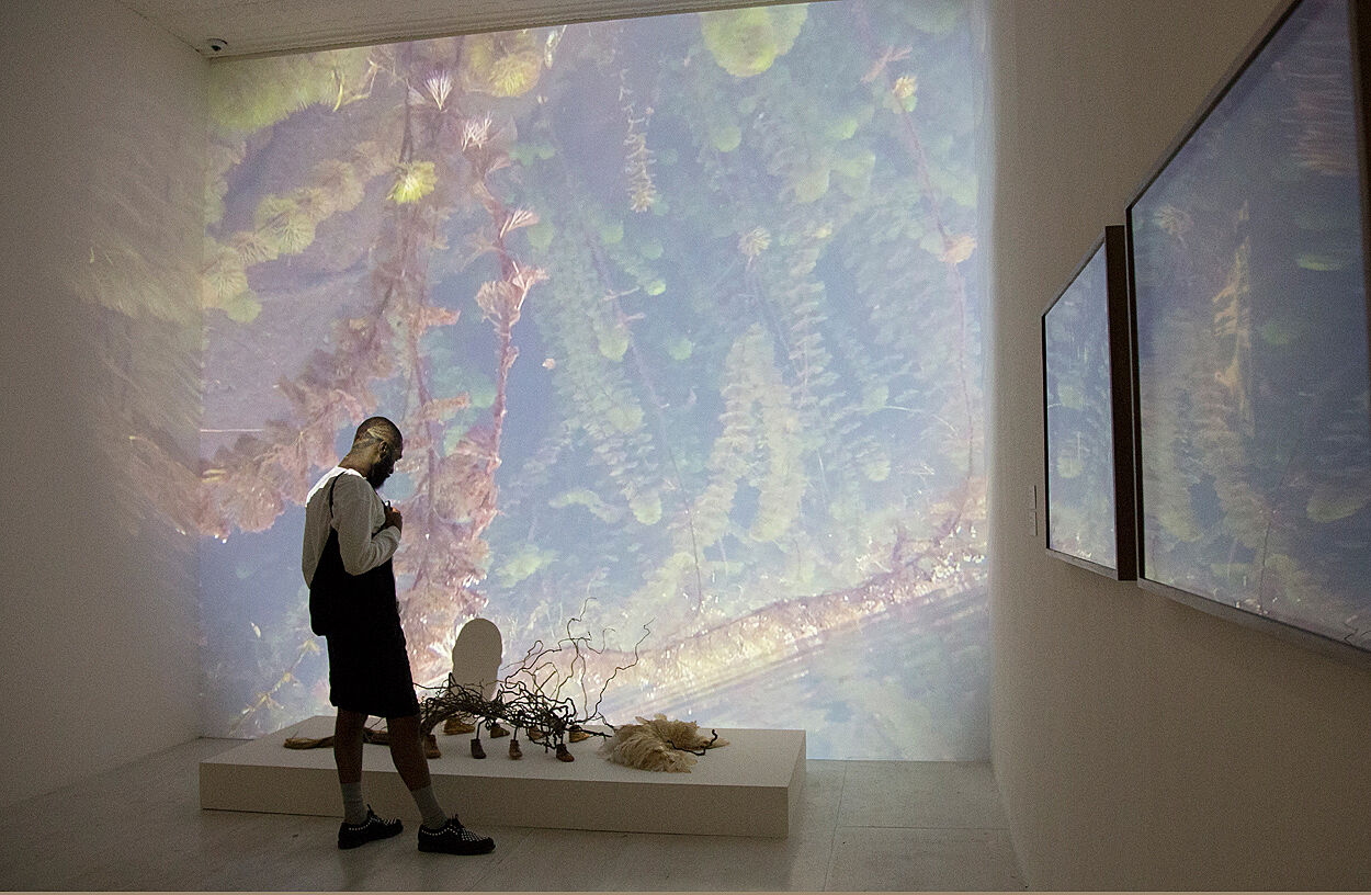 A person standing in a gallery with projections on the walls.