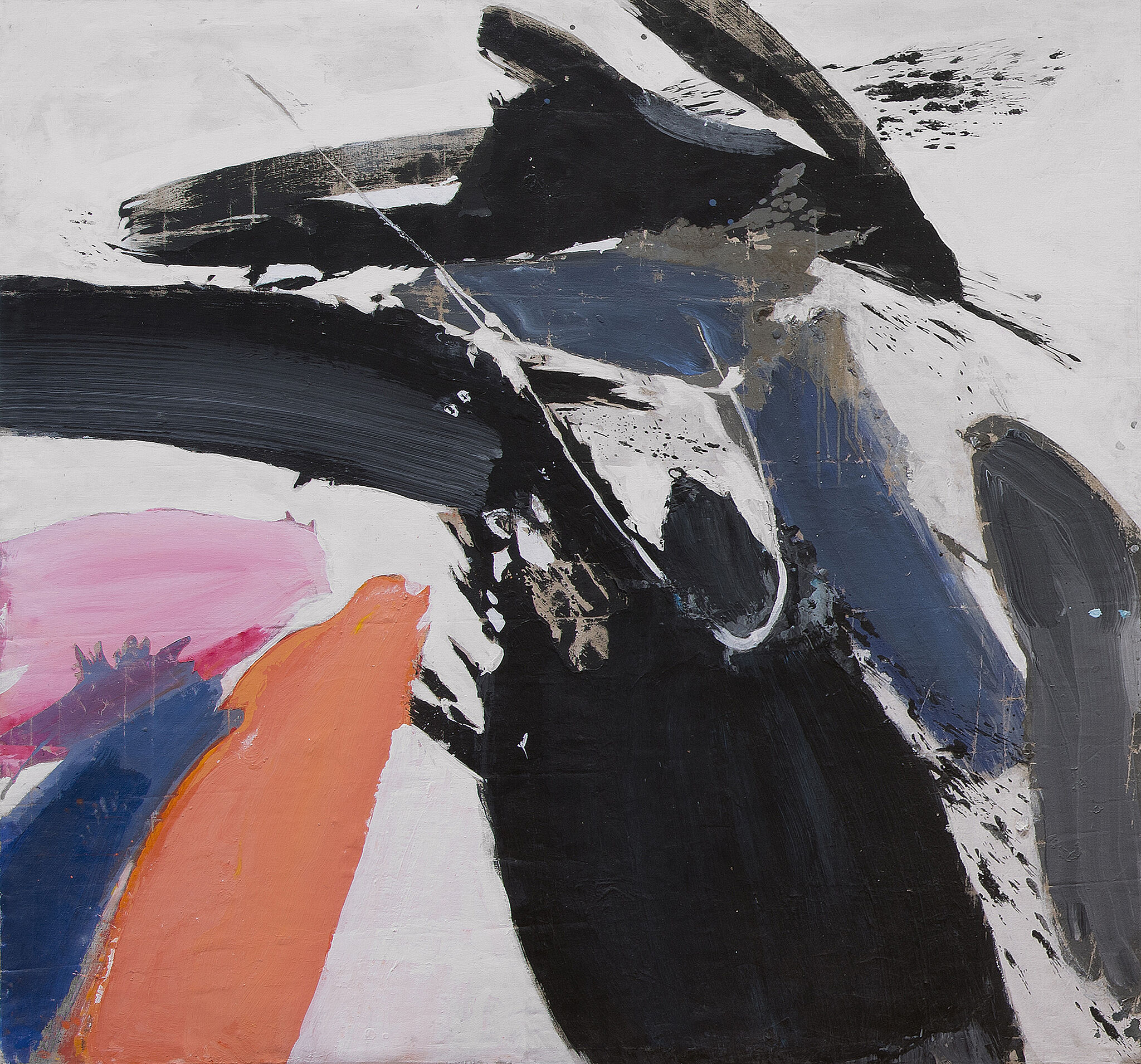 An abstract painting with strokes of orange, blue, pink, and black.