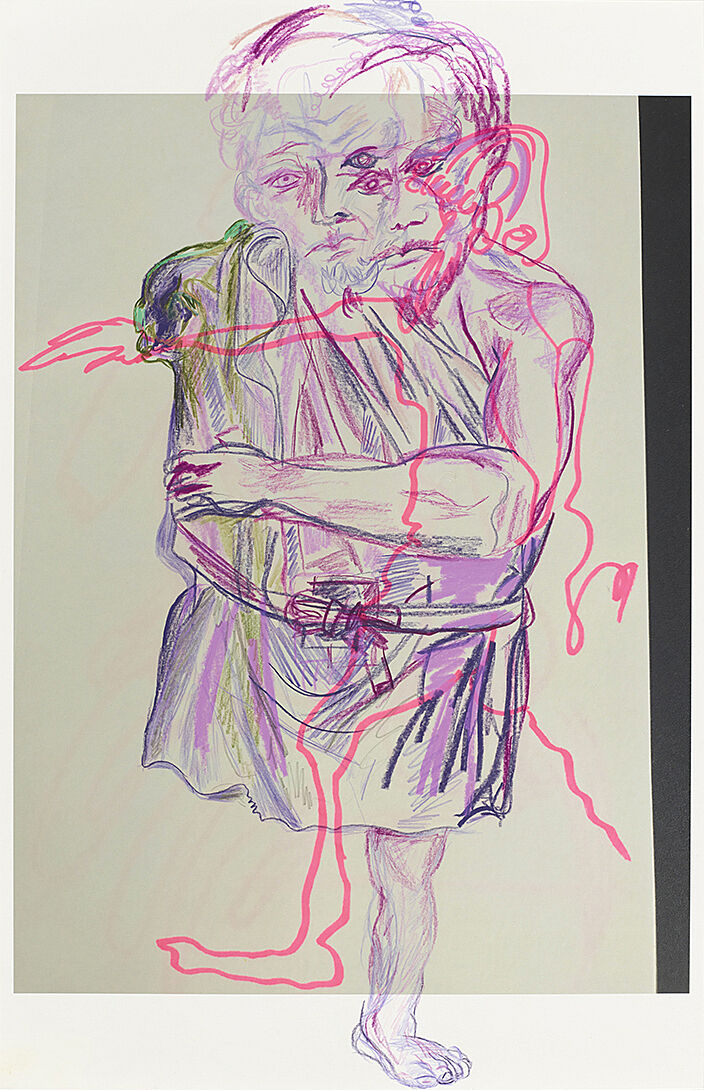 A drawing of a man wearing a toga with a drawing of a different man overlaid on top