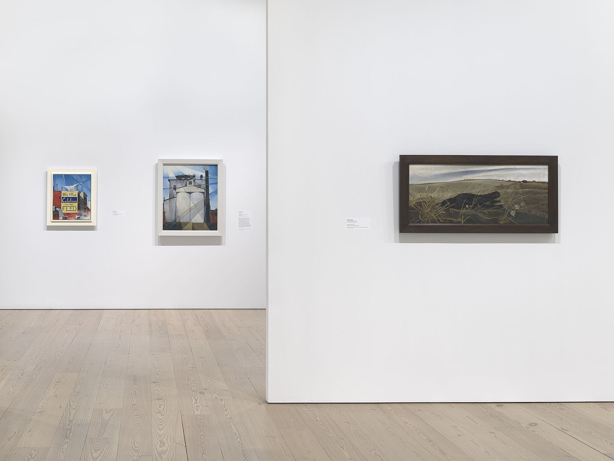 An image of the Whitney galleries with paintings on the wall
