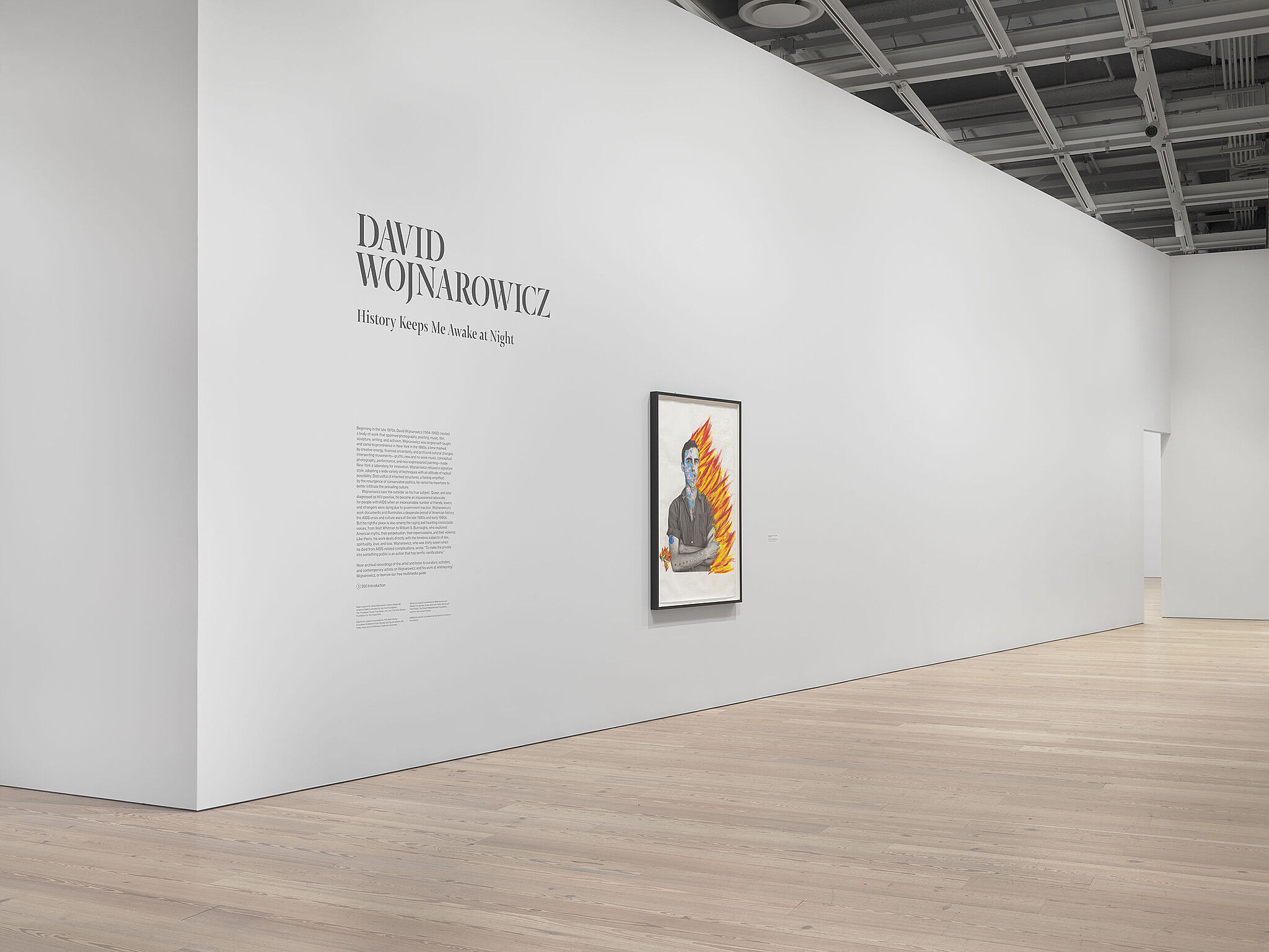 An image of the Whitney galleries with a single artwork on the wall
