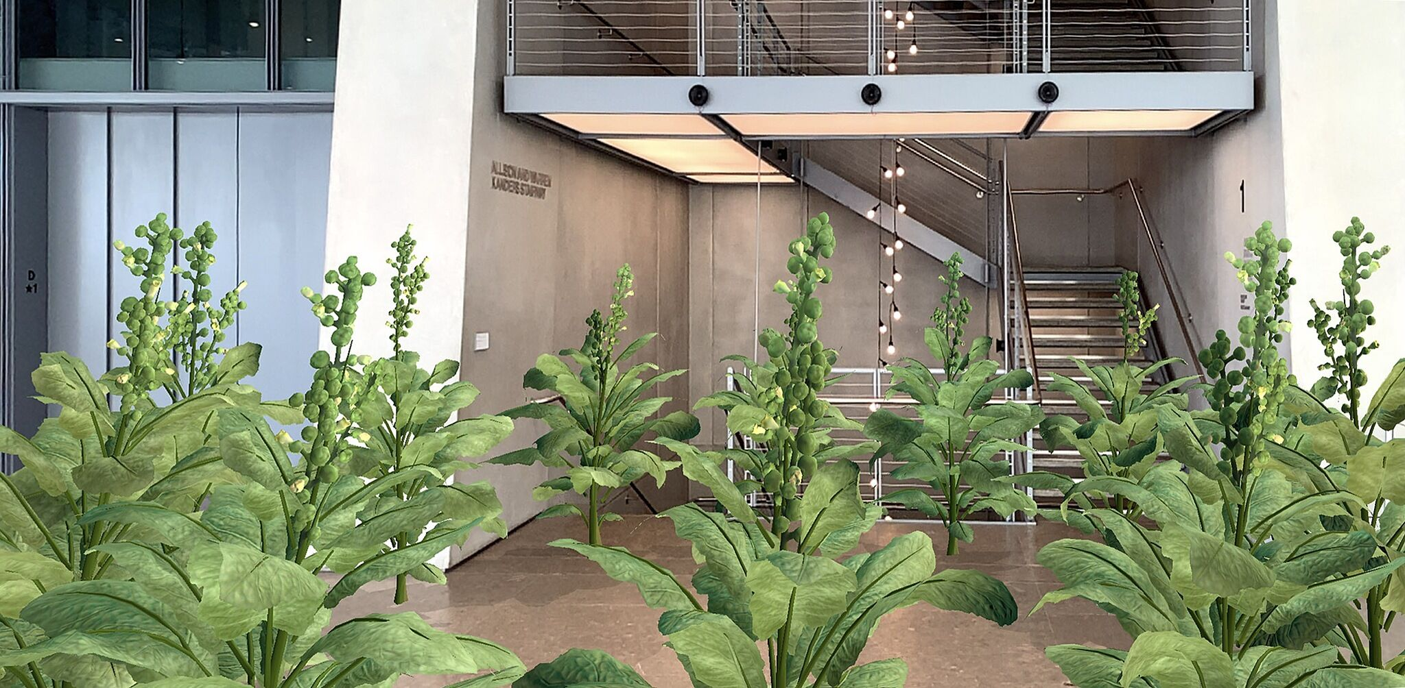 An image of the Whitney Museum lobby with augmented reality foliage