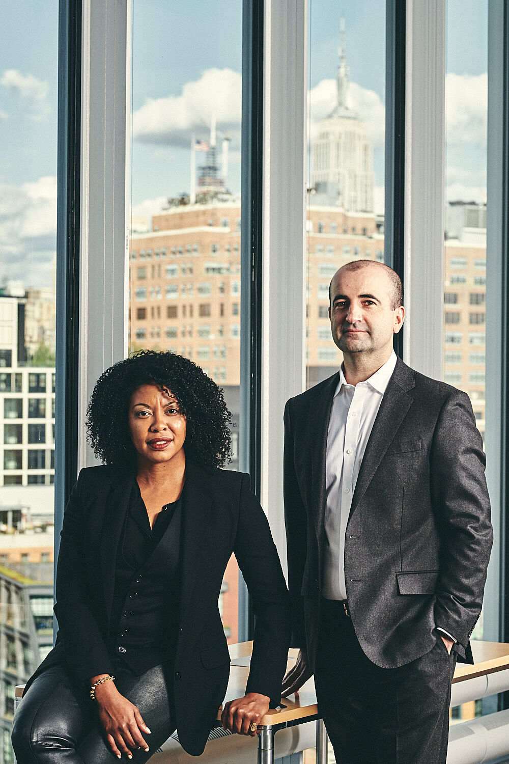 Portrait of Adrienne Edwards (left) and David Breslin (right).