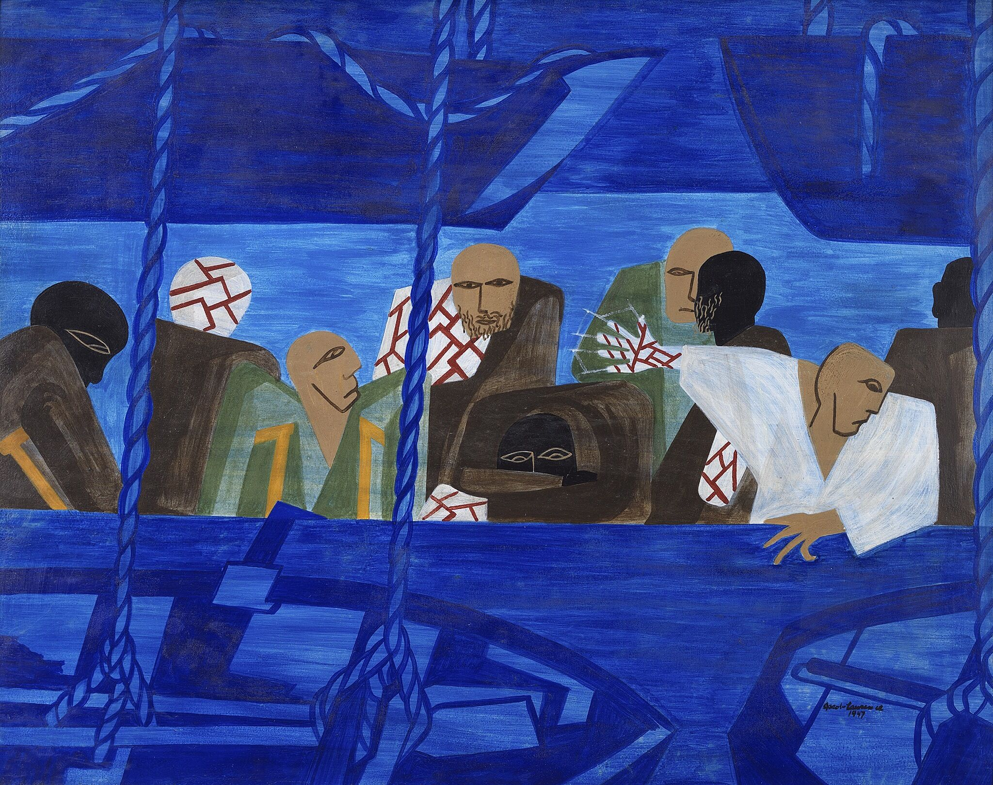 A painting of people on a boat