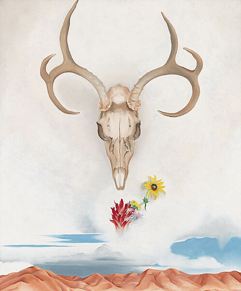A painting of a bull skull and flowers floating over a desert landscape.