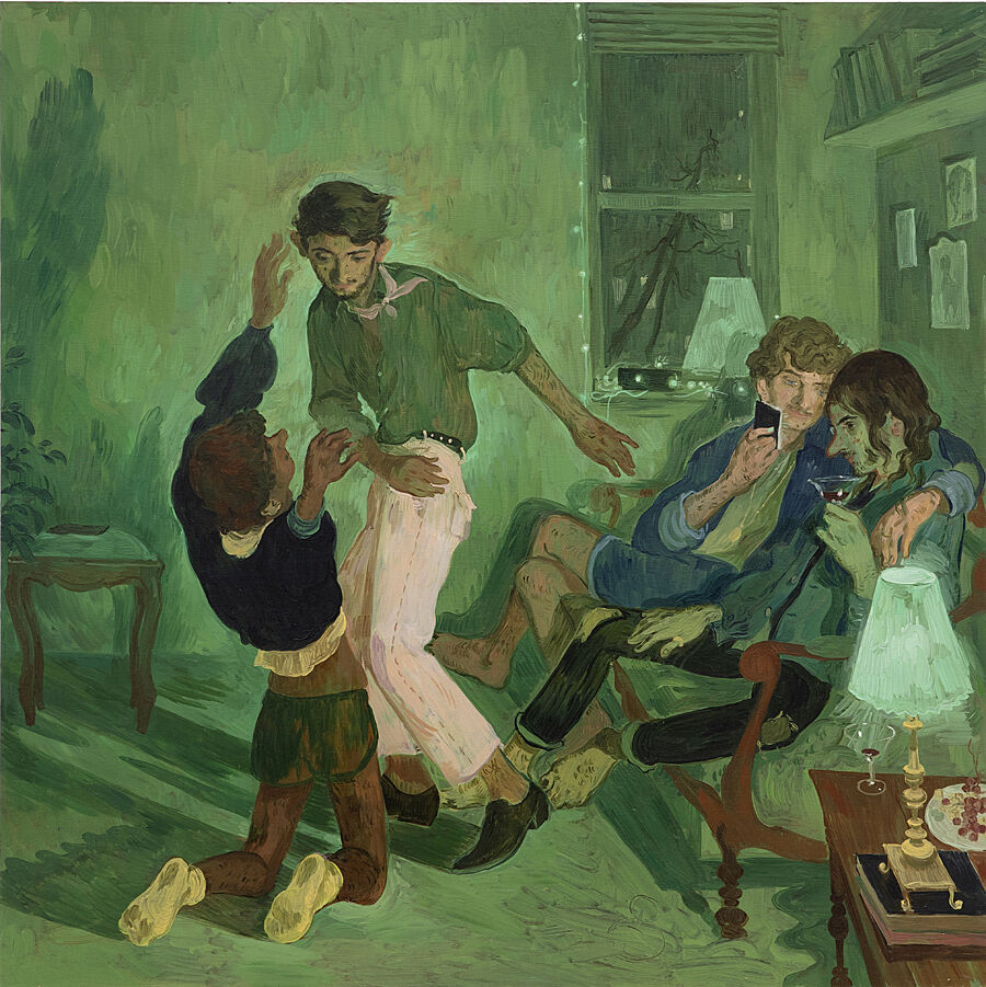 A painting of four men in a living room. Two are dancing and two are sitting on a sofa.