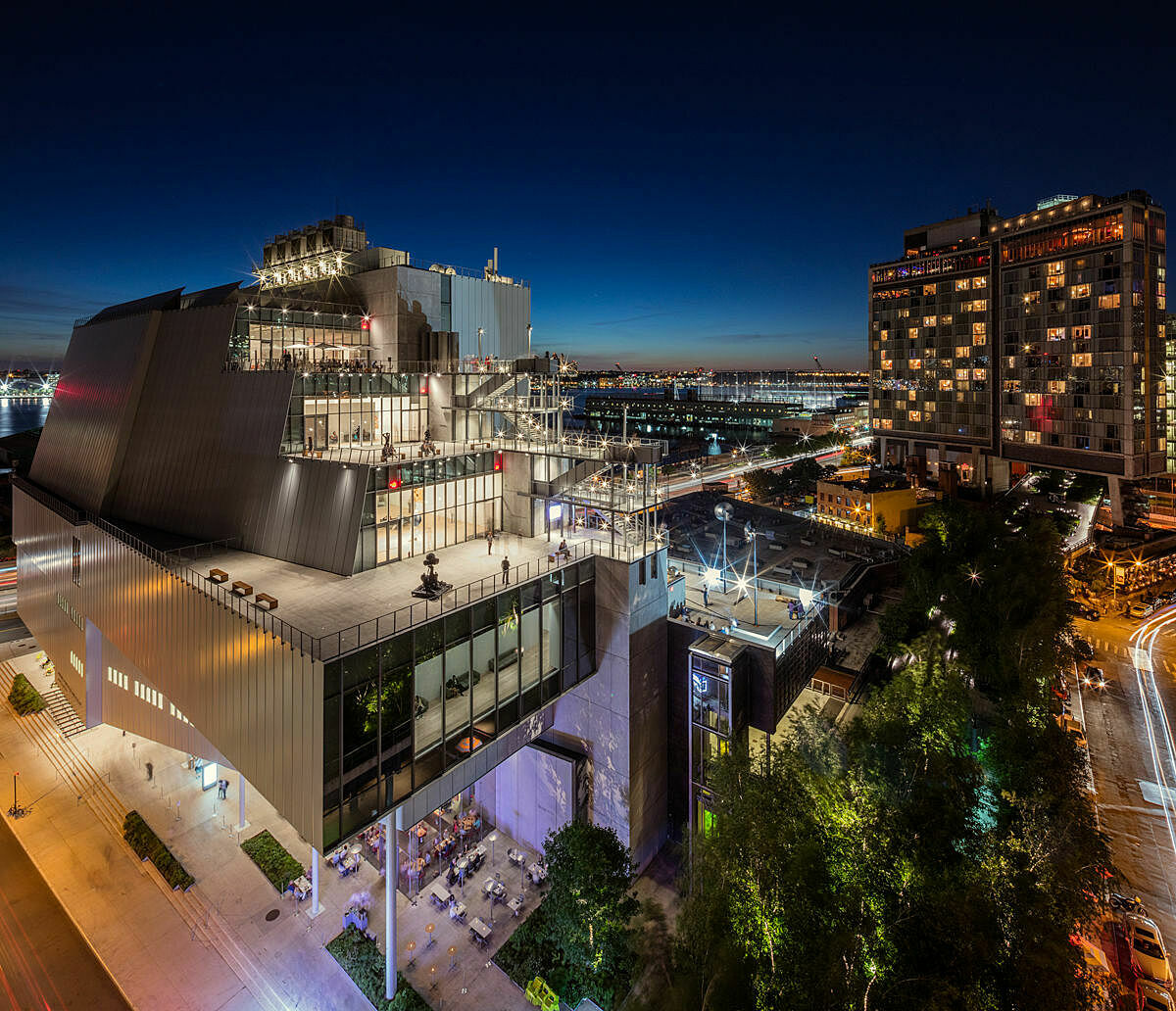 A photo of the Whitney at night.