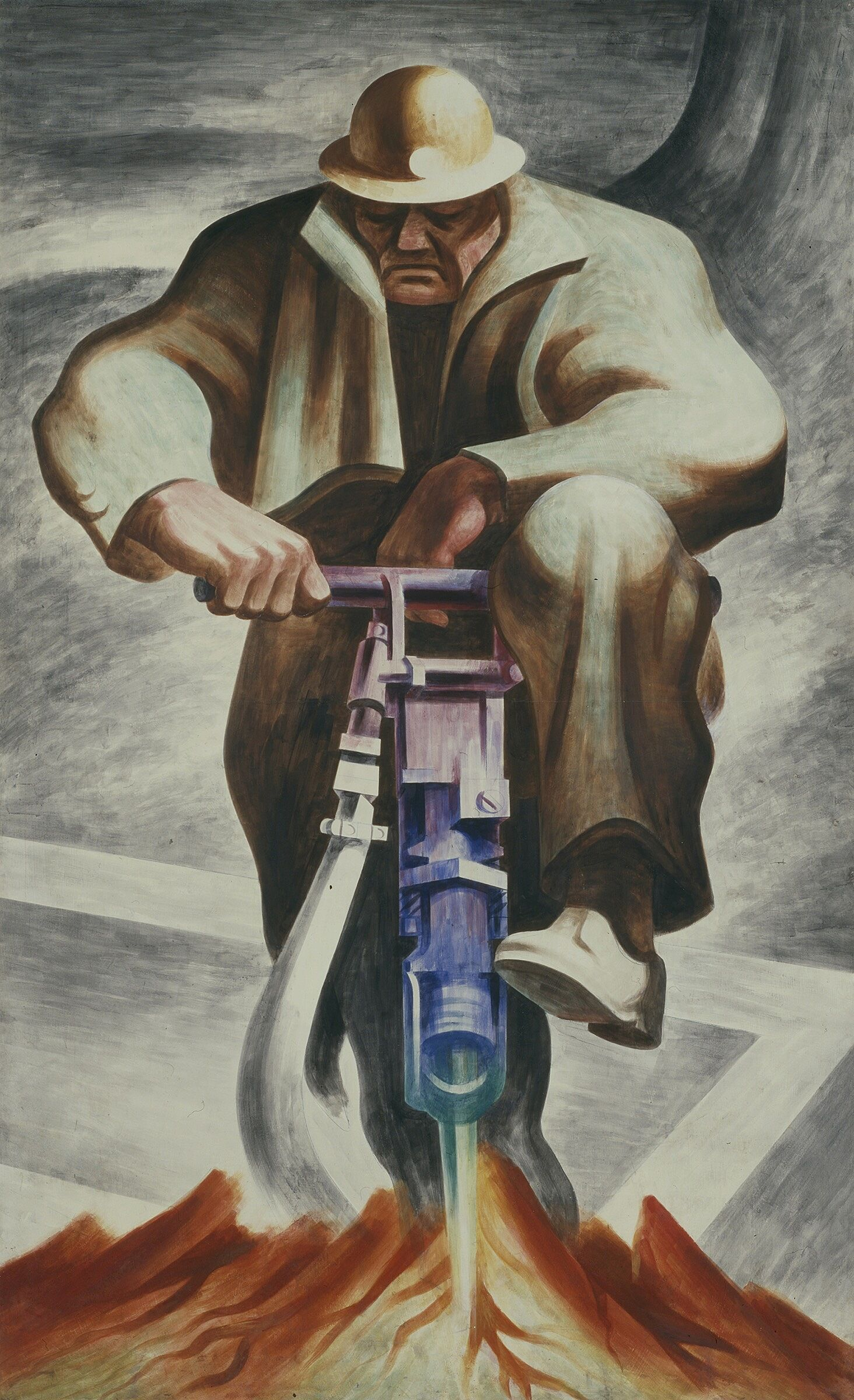 A painting of a man with a drill.
