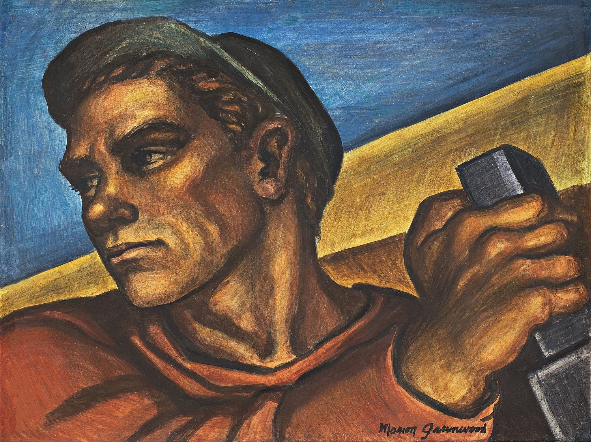 A painting of a construction worker.