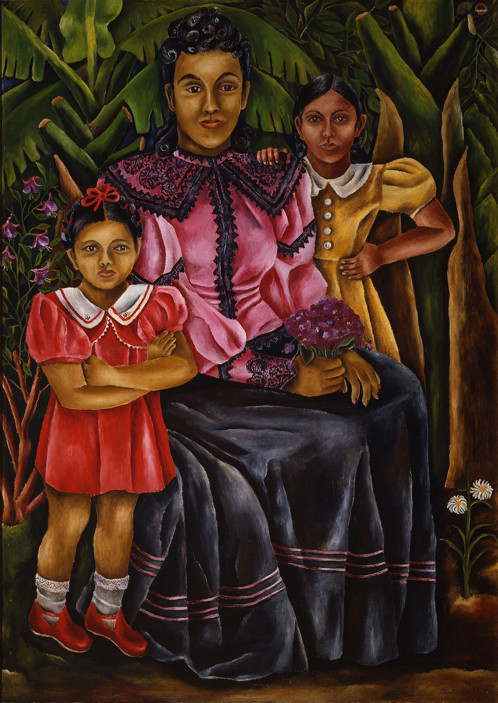 A painting of a woman with two small children.