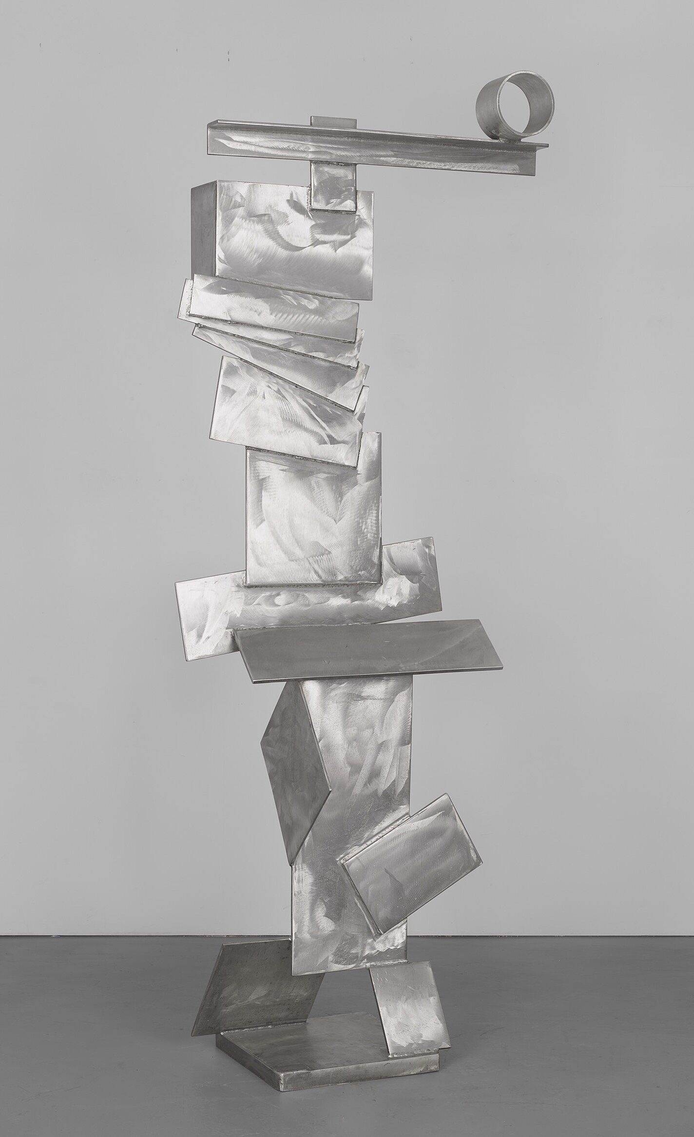 A photo of an abstract steel sculpture.