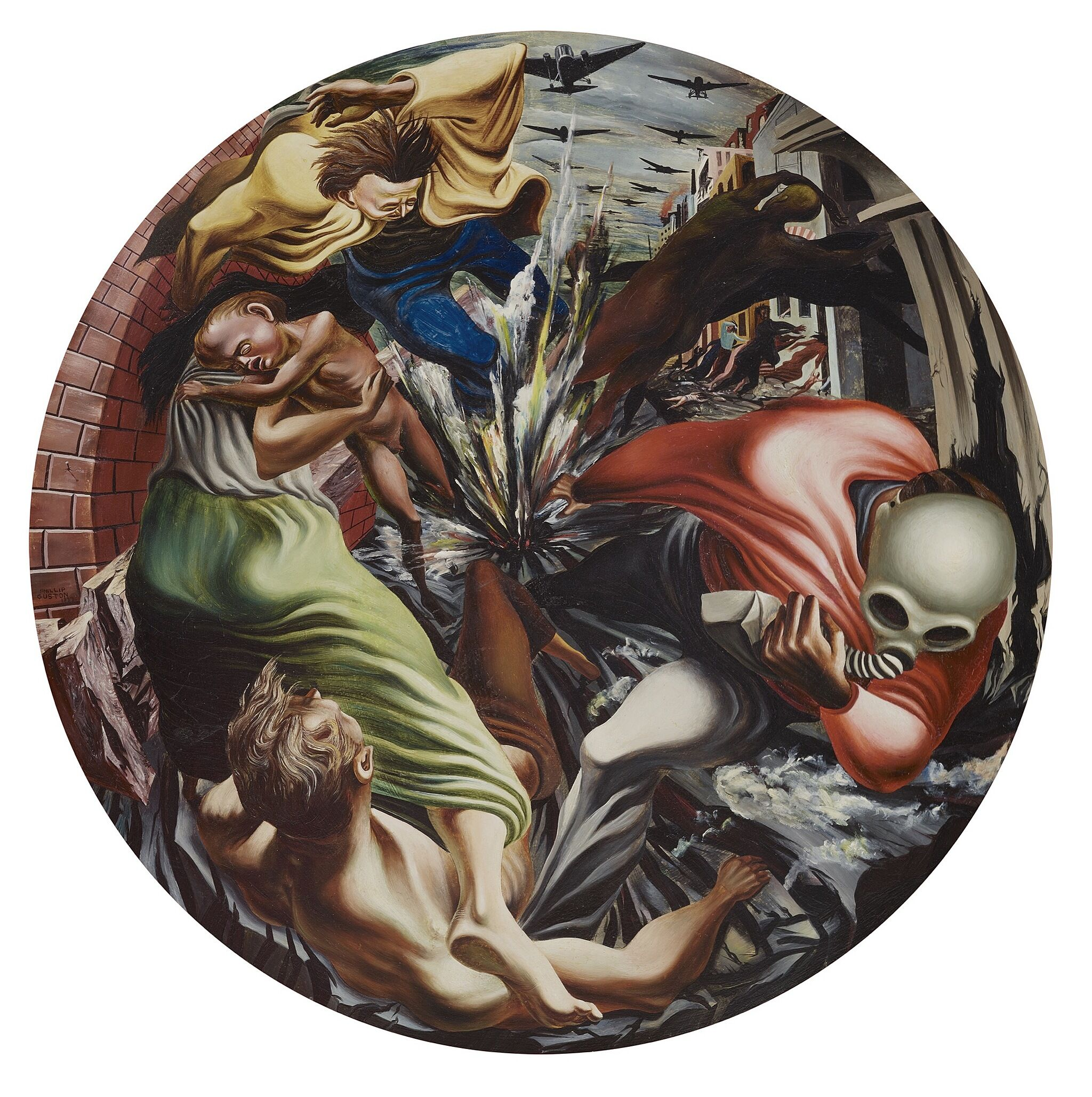 A circular painting depicting people running from an explosion.