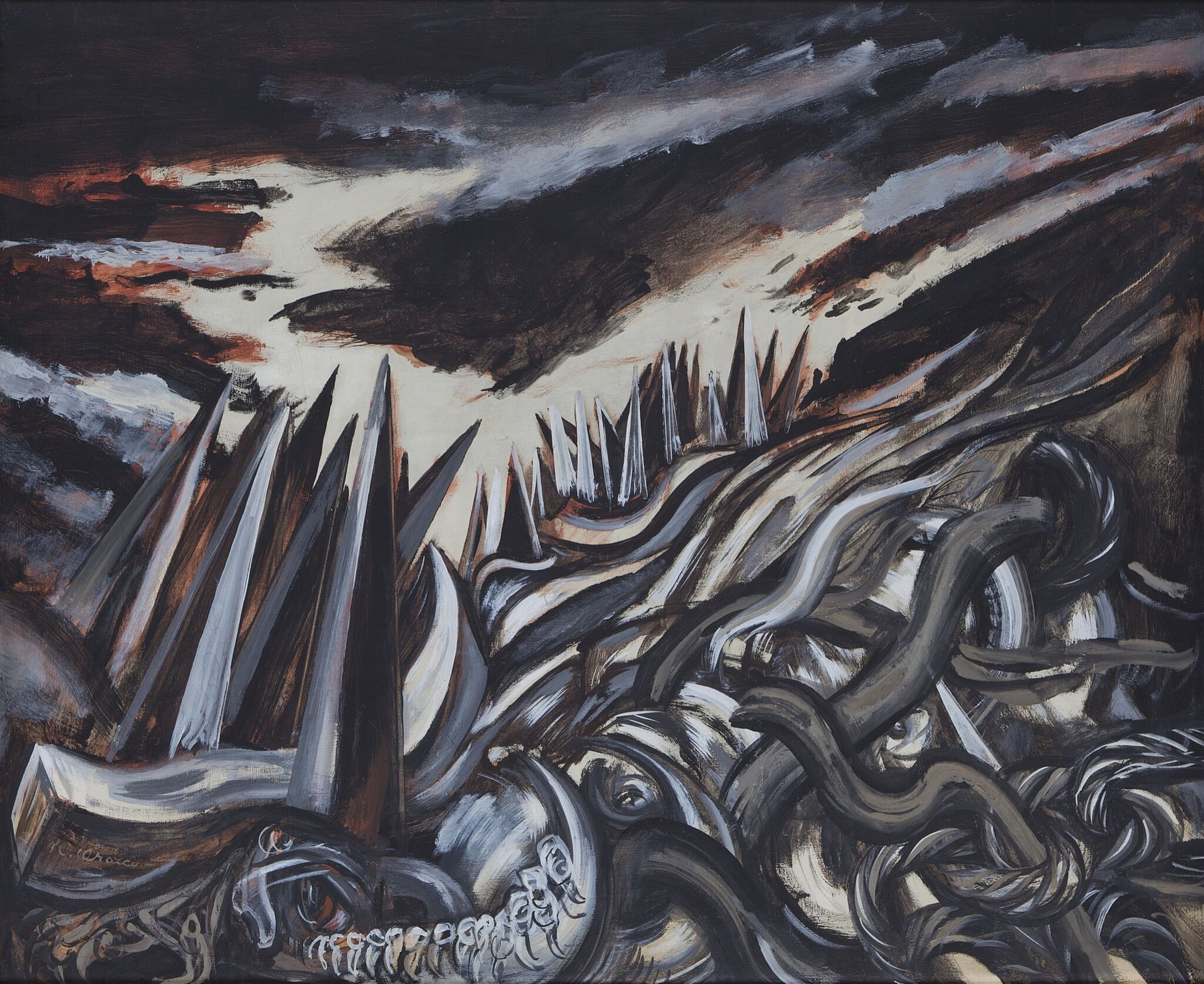 A painting depicting a valley full of abstract spikes.