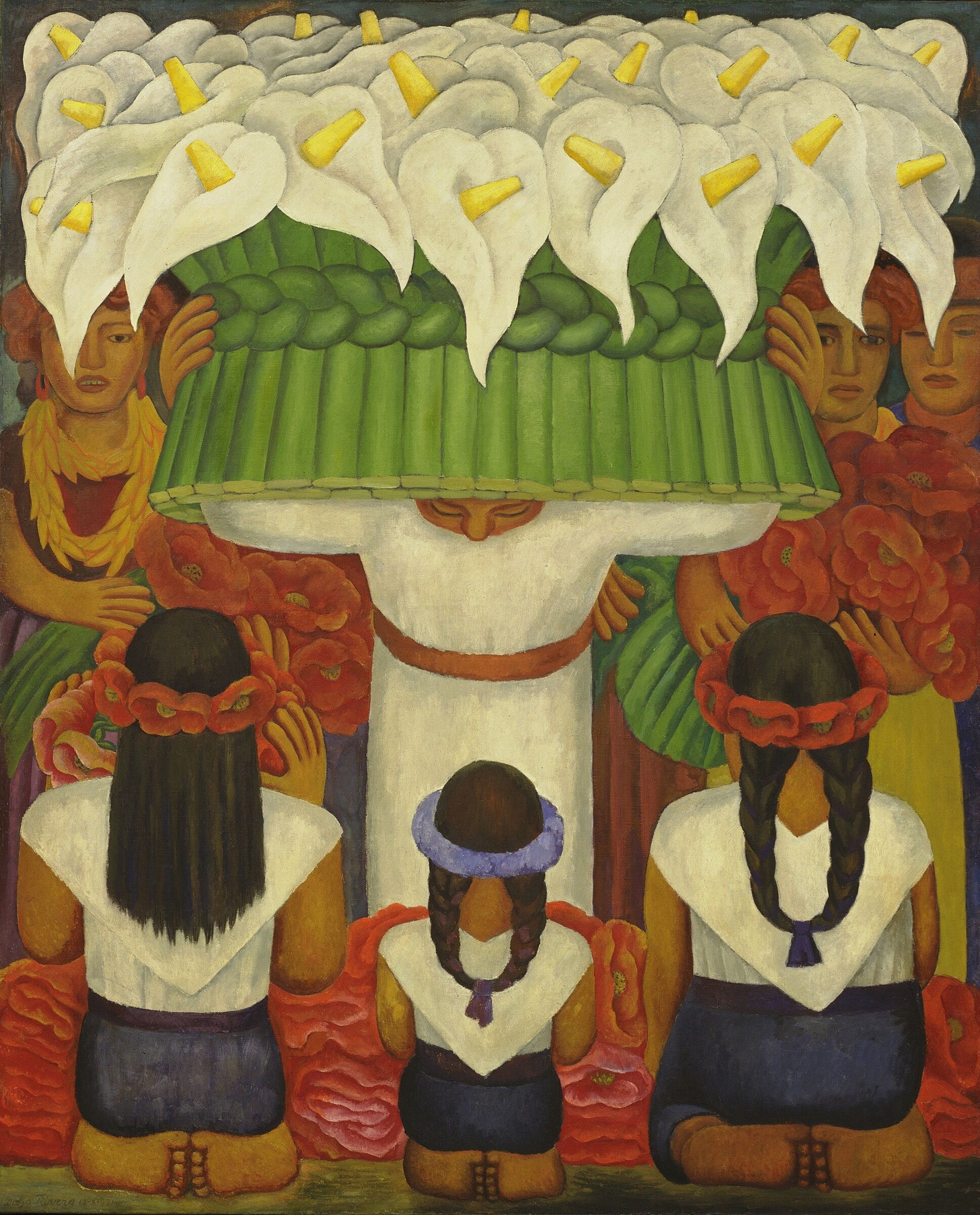A painting of a person holding many flowers in front of three kneeling people.