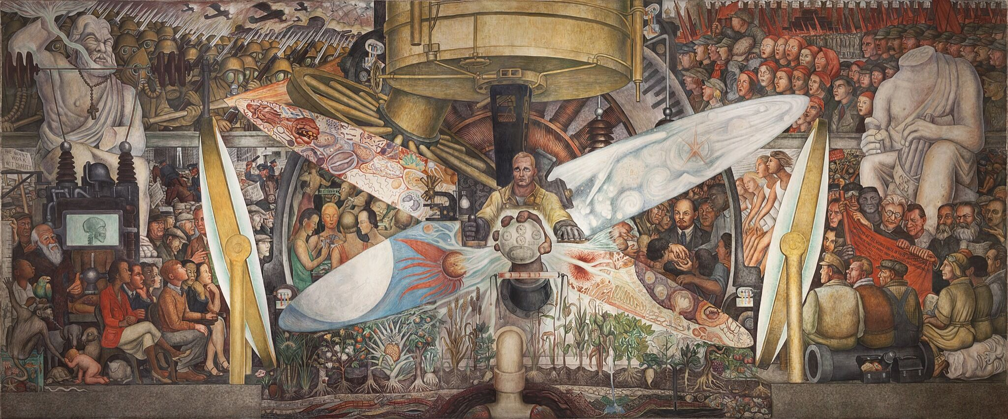 A long mural with a man at the center surrounded by various people and statues.