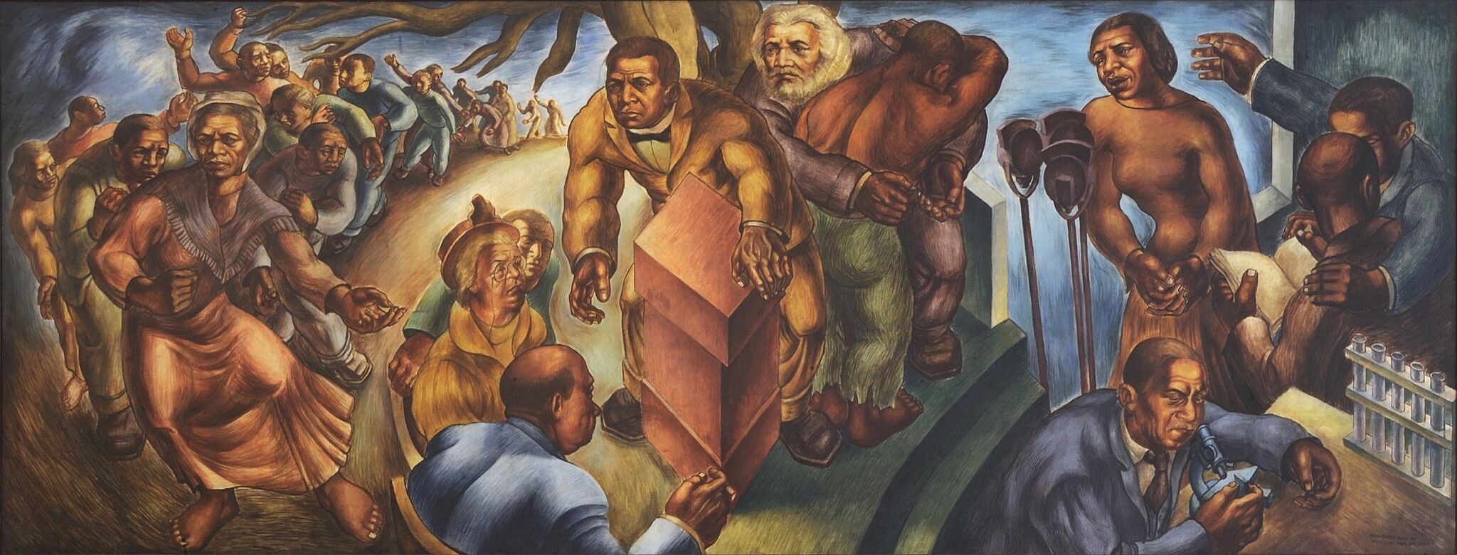 A mural depicting various black American historical figures.