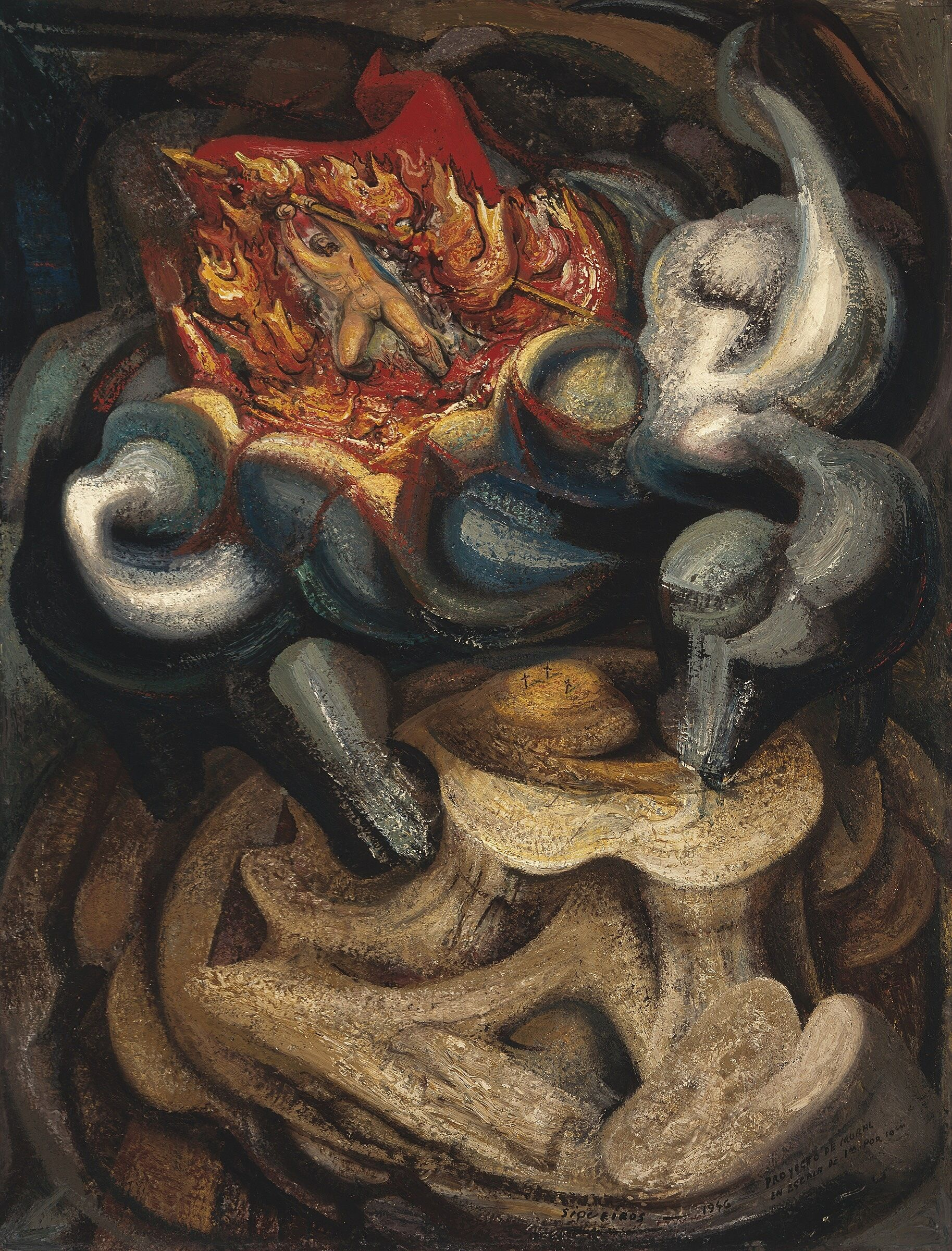 A semi-abstract painting with a small figure in flames with an arrow.