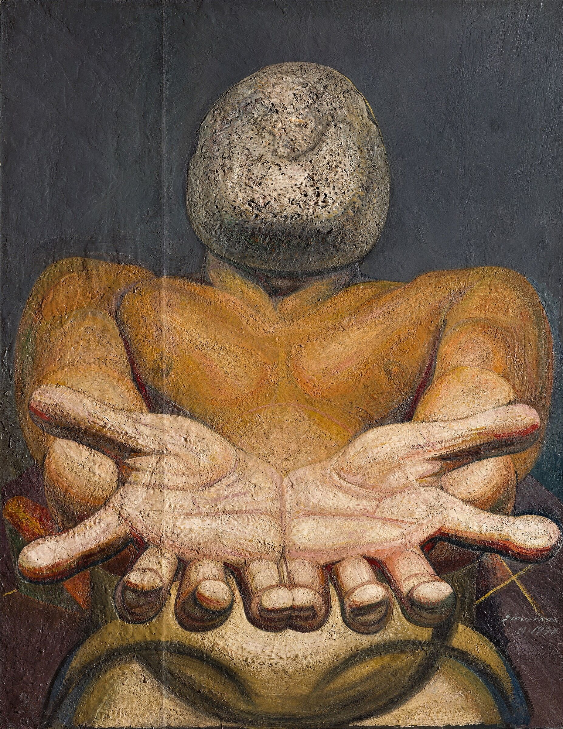 A painting of a man with outstretched hands and a rock for a face.