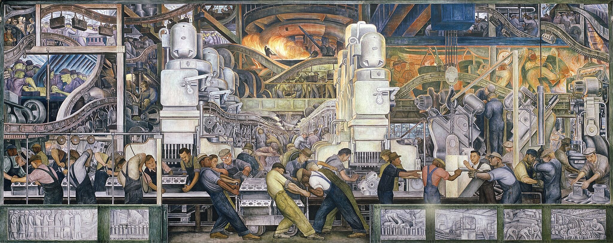 A large mural depicting a factory full of people working.