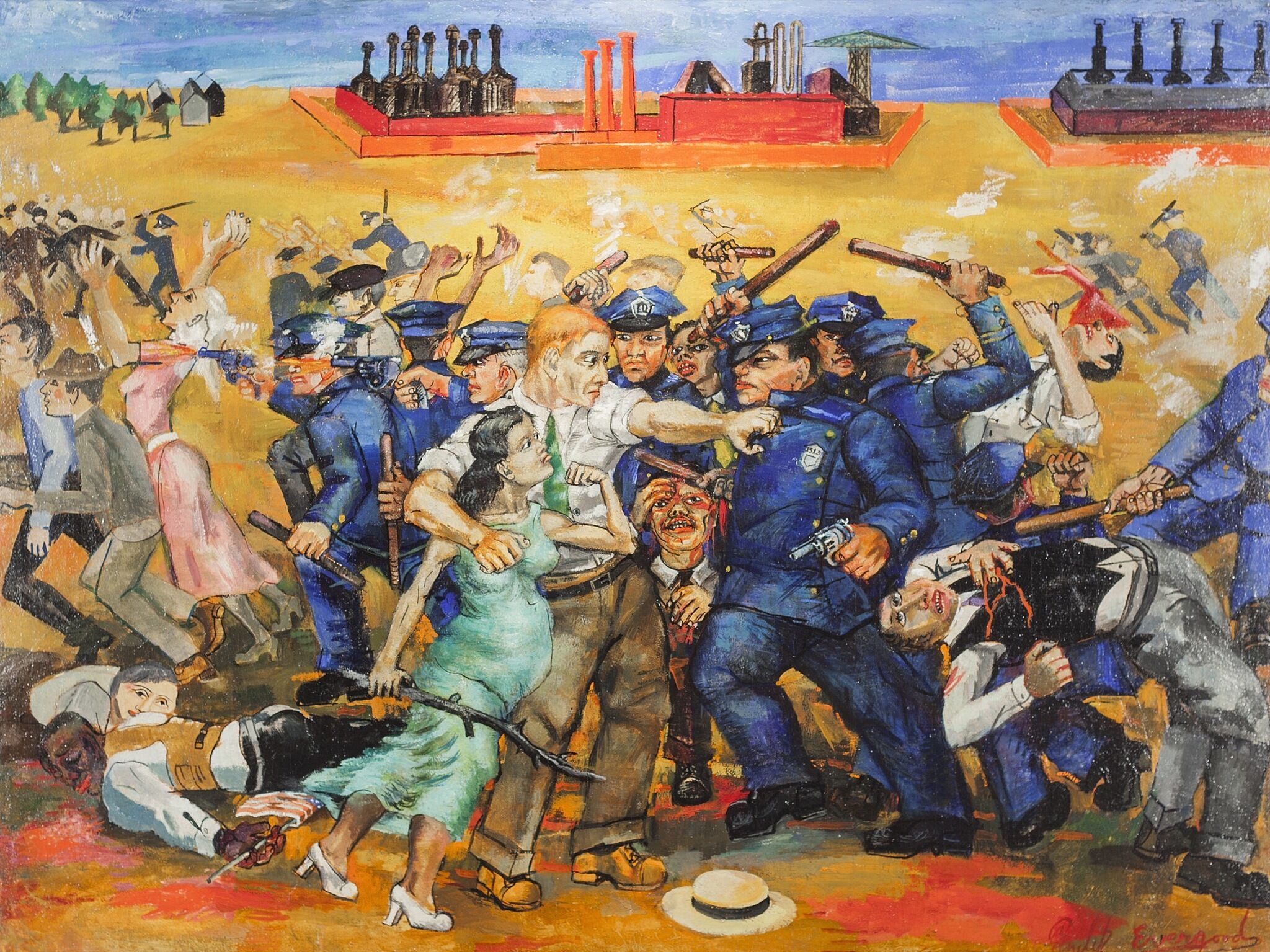 A painting depicting a gruesome clash between police and a group of people.