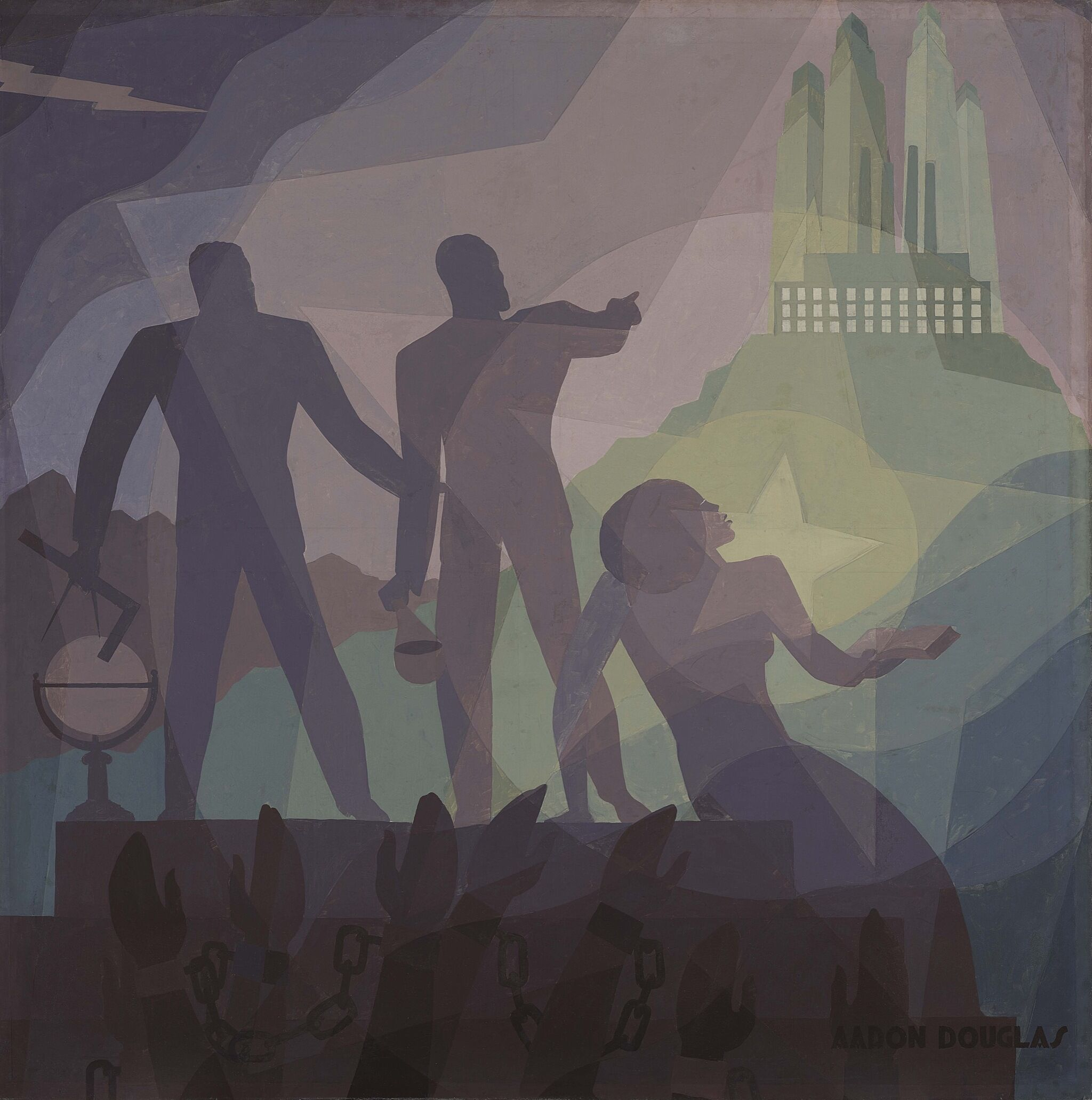 A painting depicting a crowd in chains and three individuals standing pointing at skyscrapers in the distance.