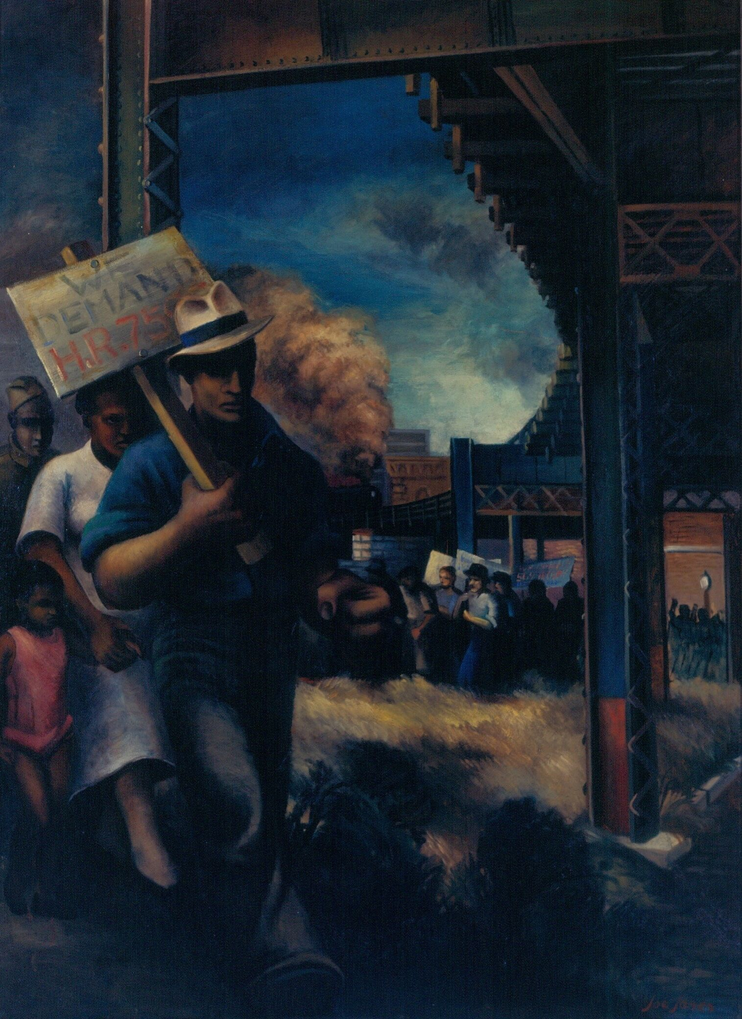 A painting depicting a line of people with picket signs.