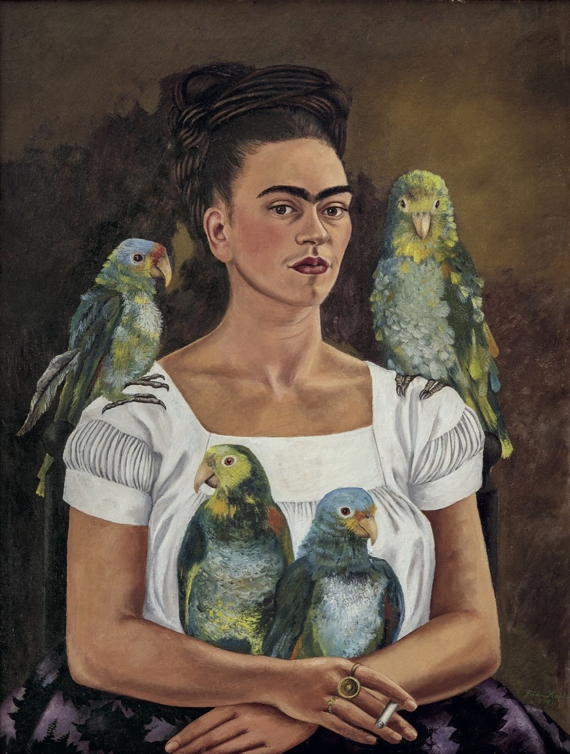 A painting of a woman with parents on her shoulders and in her arms.