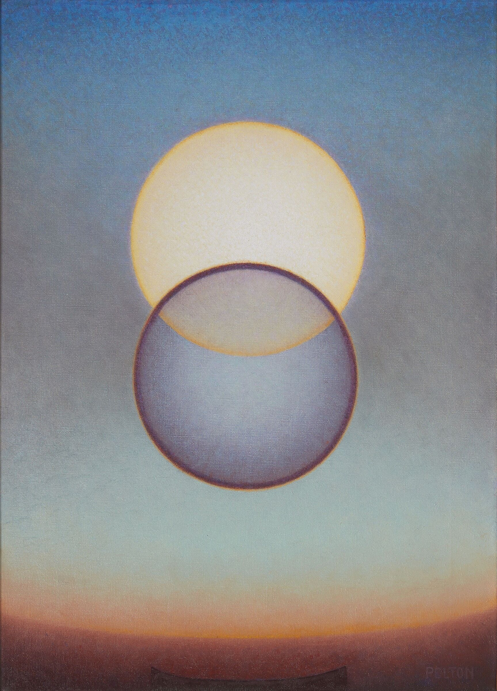An abstract painting featuring two intersecting circles.