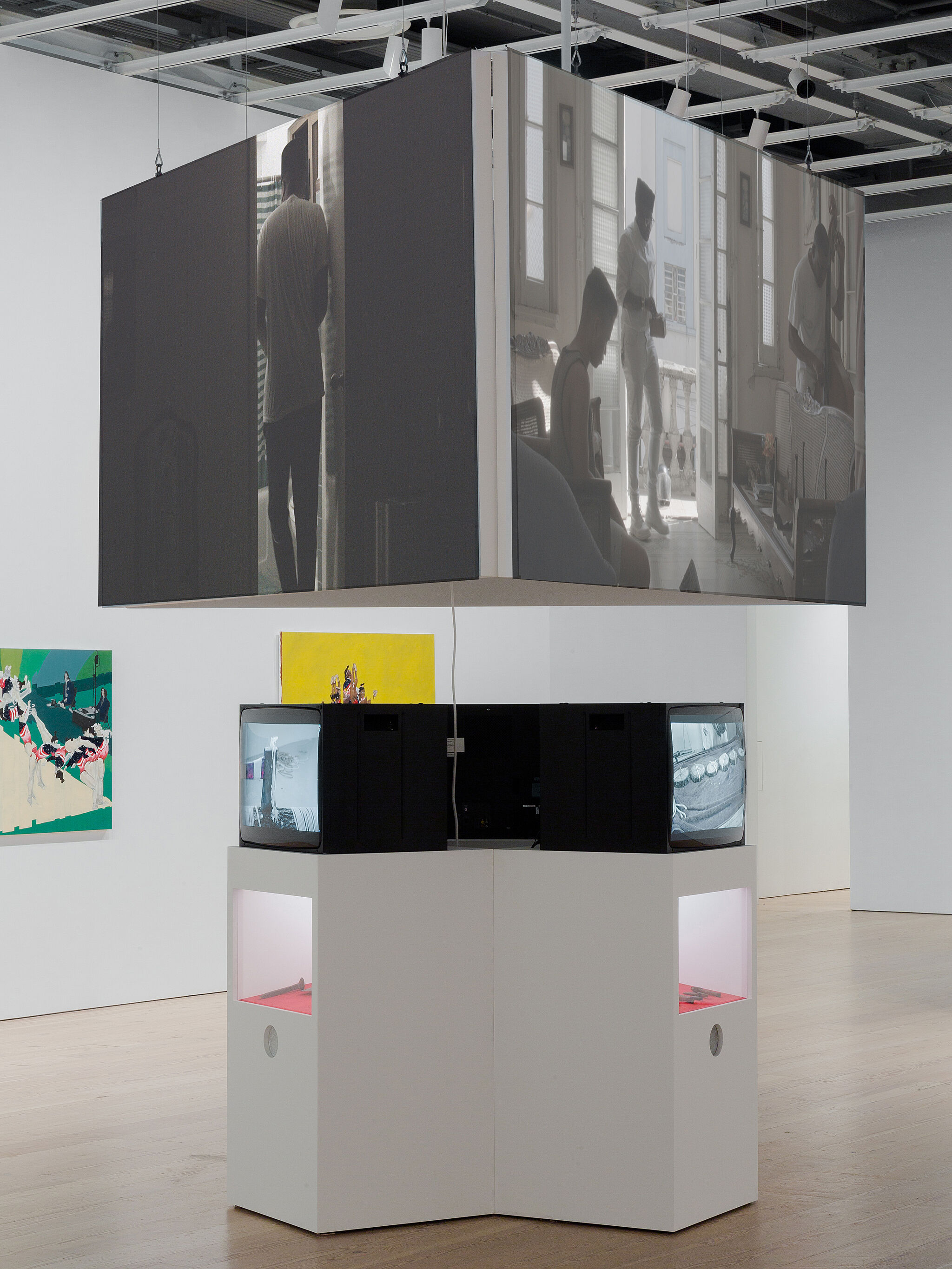A photo of a video and multi-media installation in the Whitney galleries.